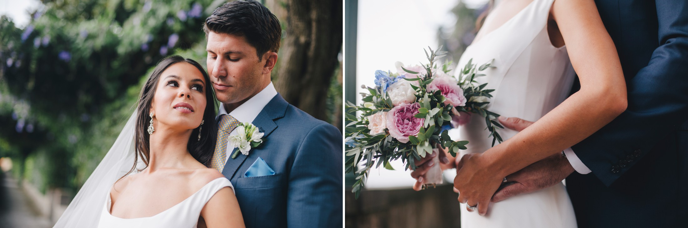wedding in sorrento collage bride and groom's portrait and wedding bouquet