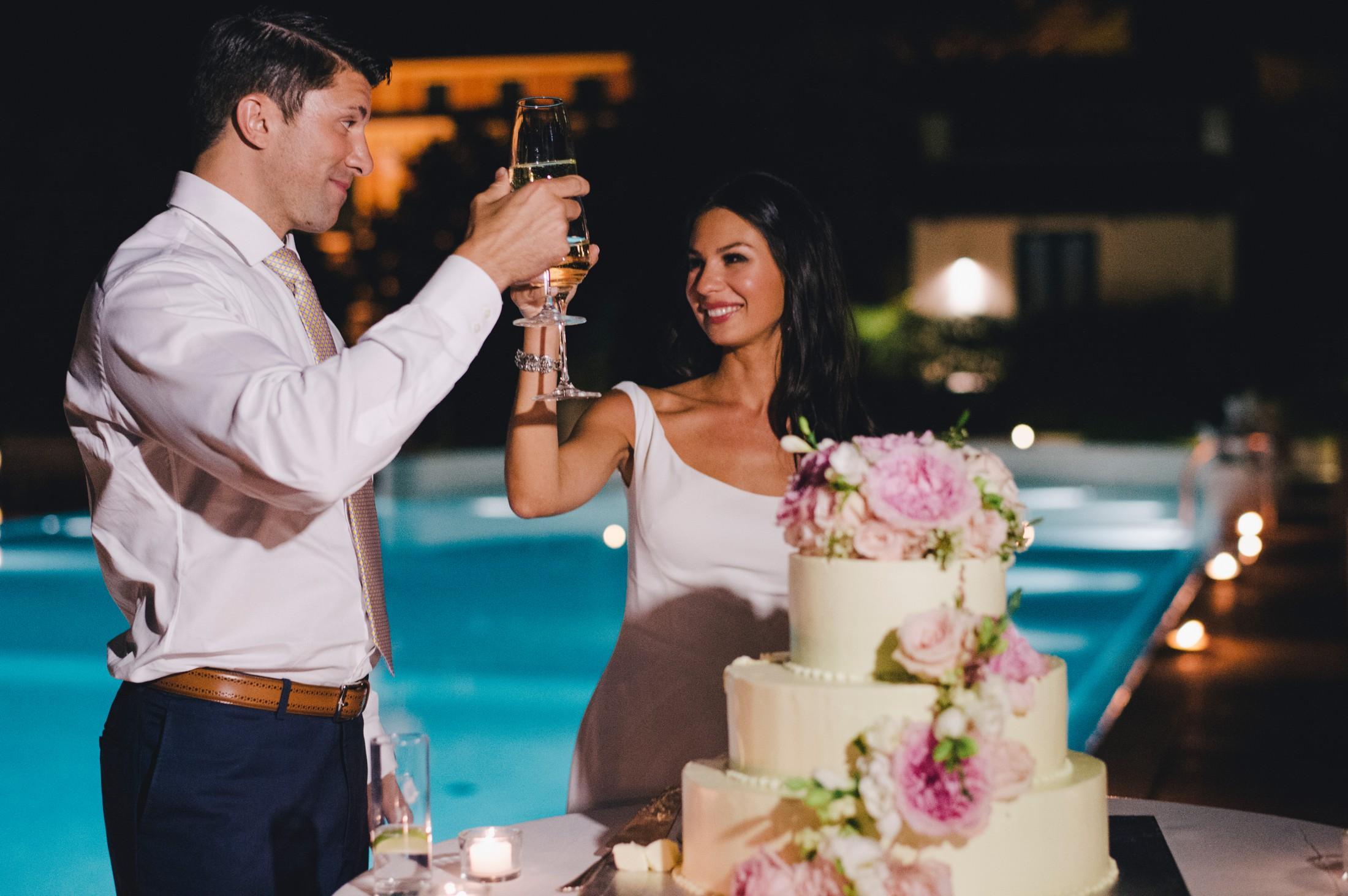 wedding in sorrento bride and groom having a toast