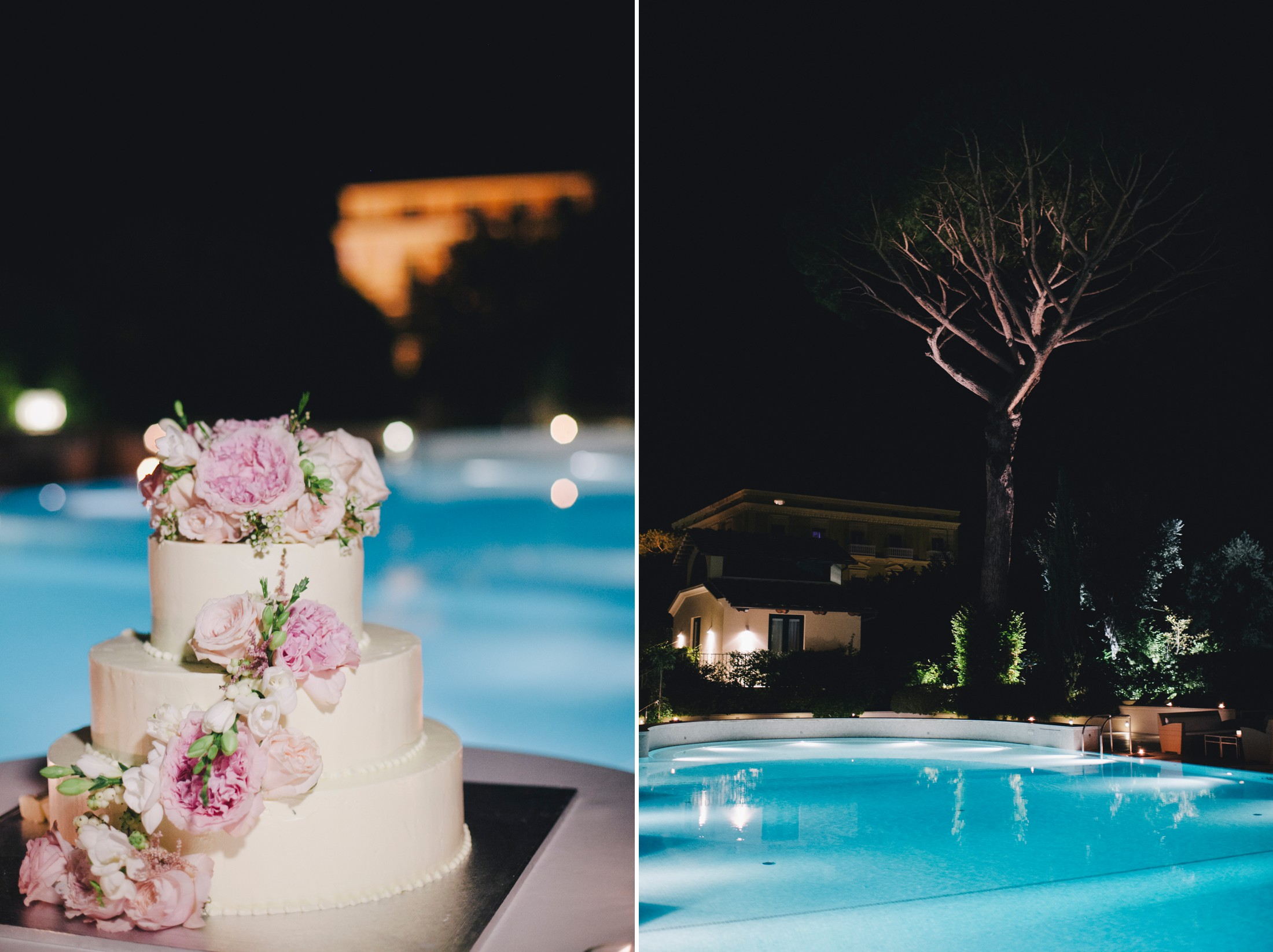 wedding in sorrento collage the wedding cake and the pool of hotel excelsior