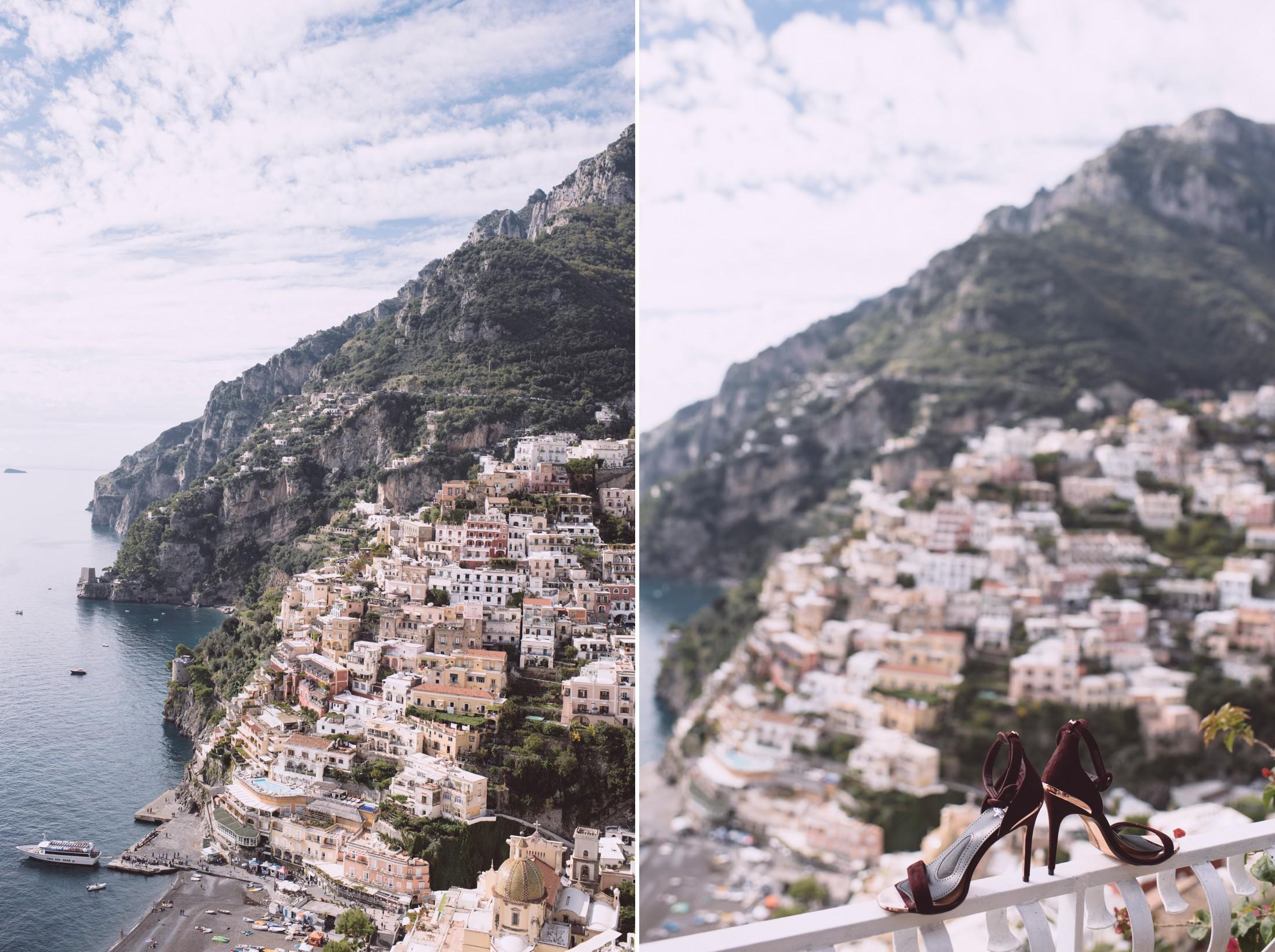 positano wedding collage positano and bride's shoes