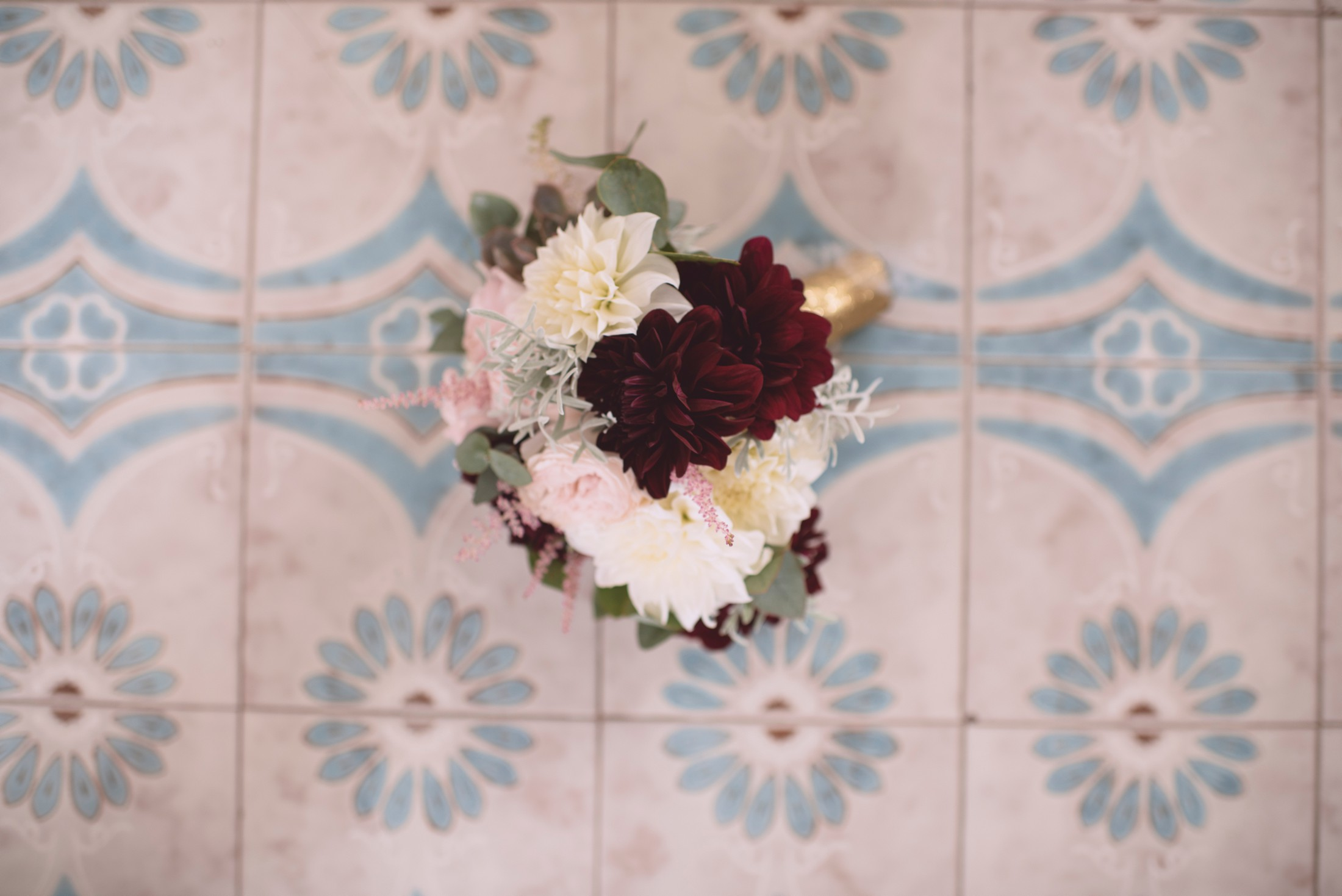 positano wedding bouquet on the floor