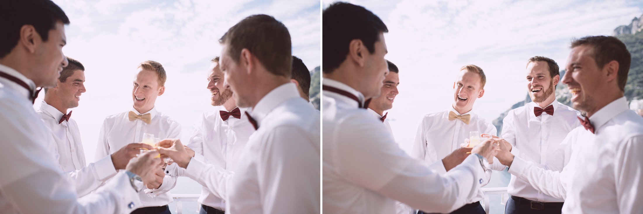 positano wedding collage groom and best men getting ready