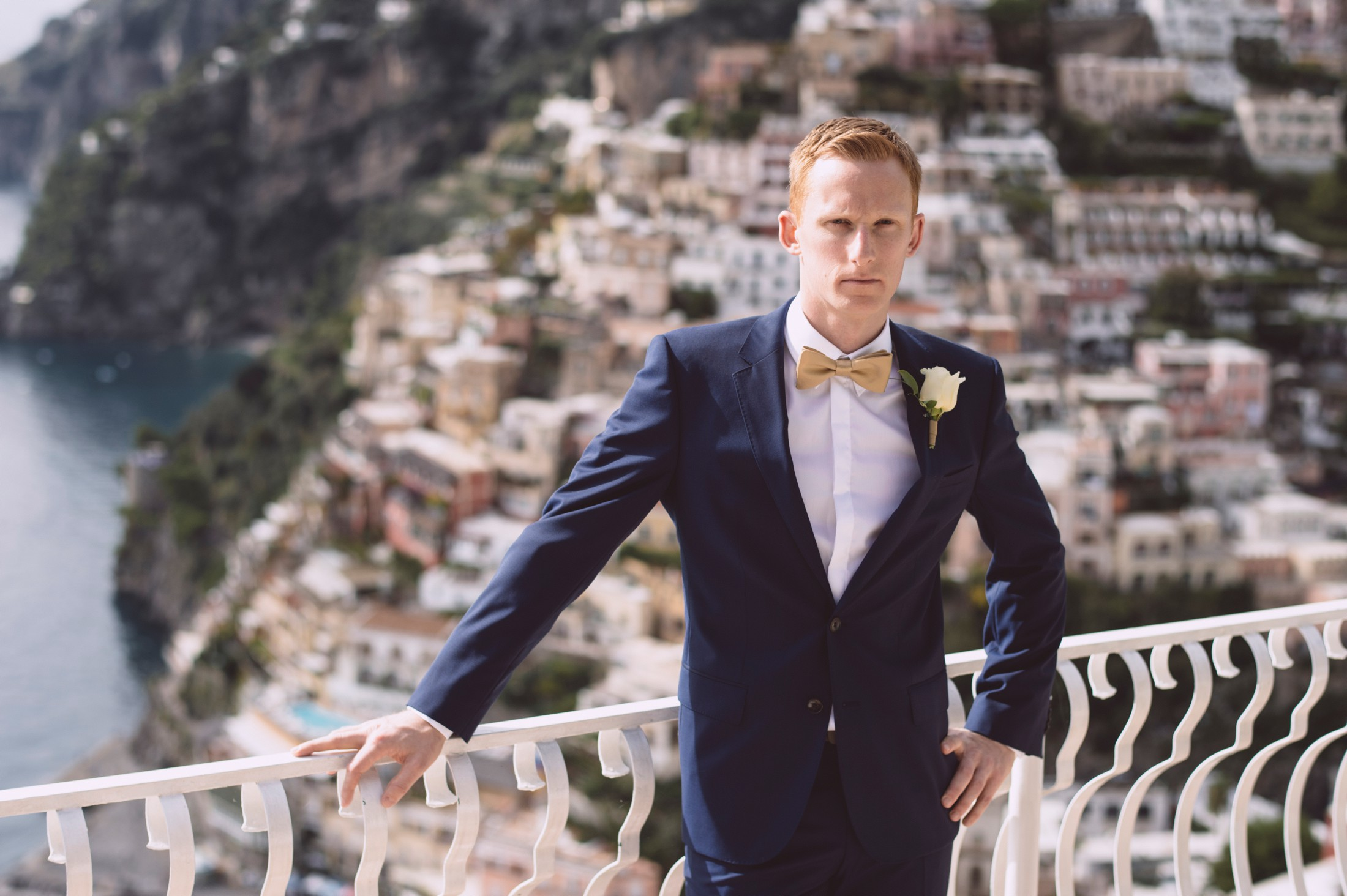 positano wedding groom's portrait with positano on the background