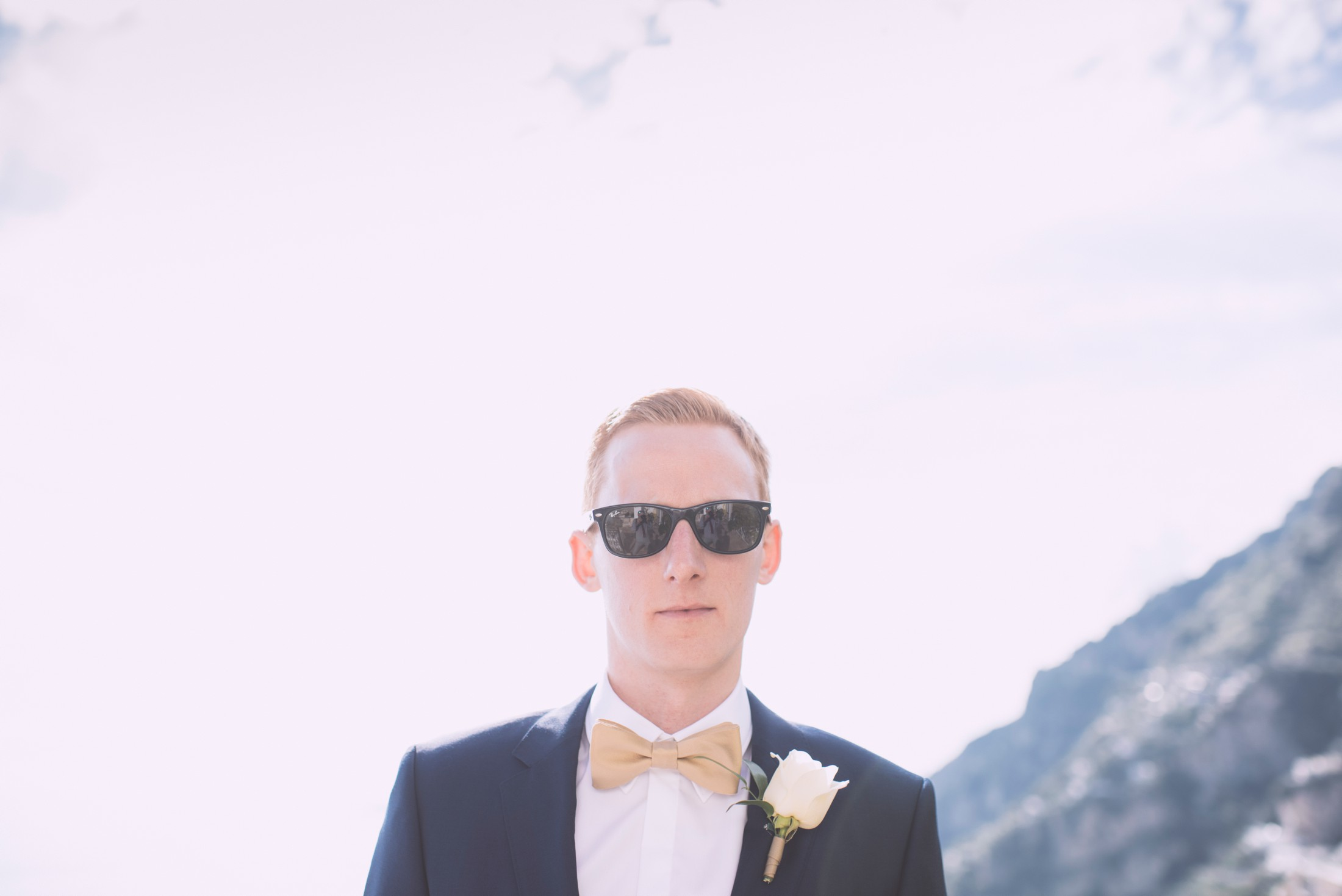 positano wedding groom's portrait with sun glasses
