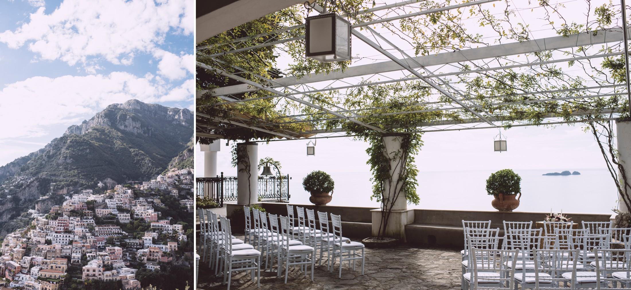positano wedding collage positano view and wedding ceremony setting