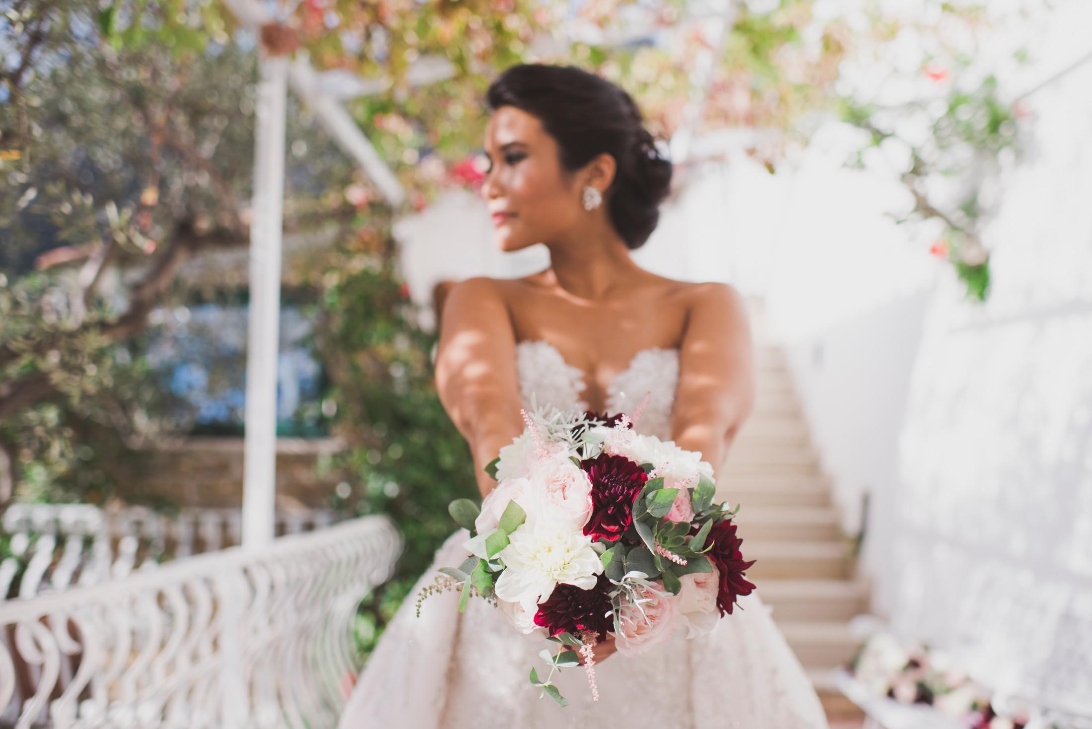 positano wedding bride's portrait with her bouquet