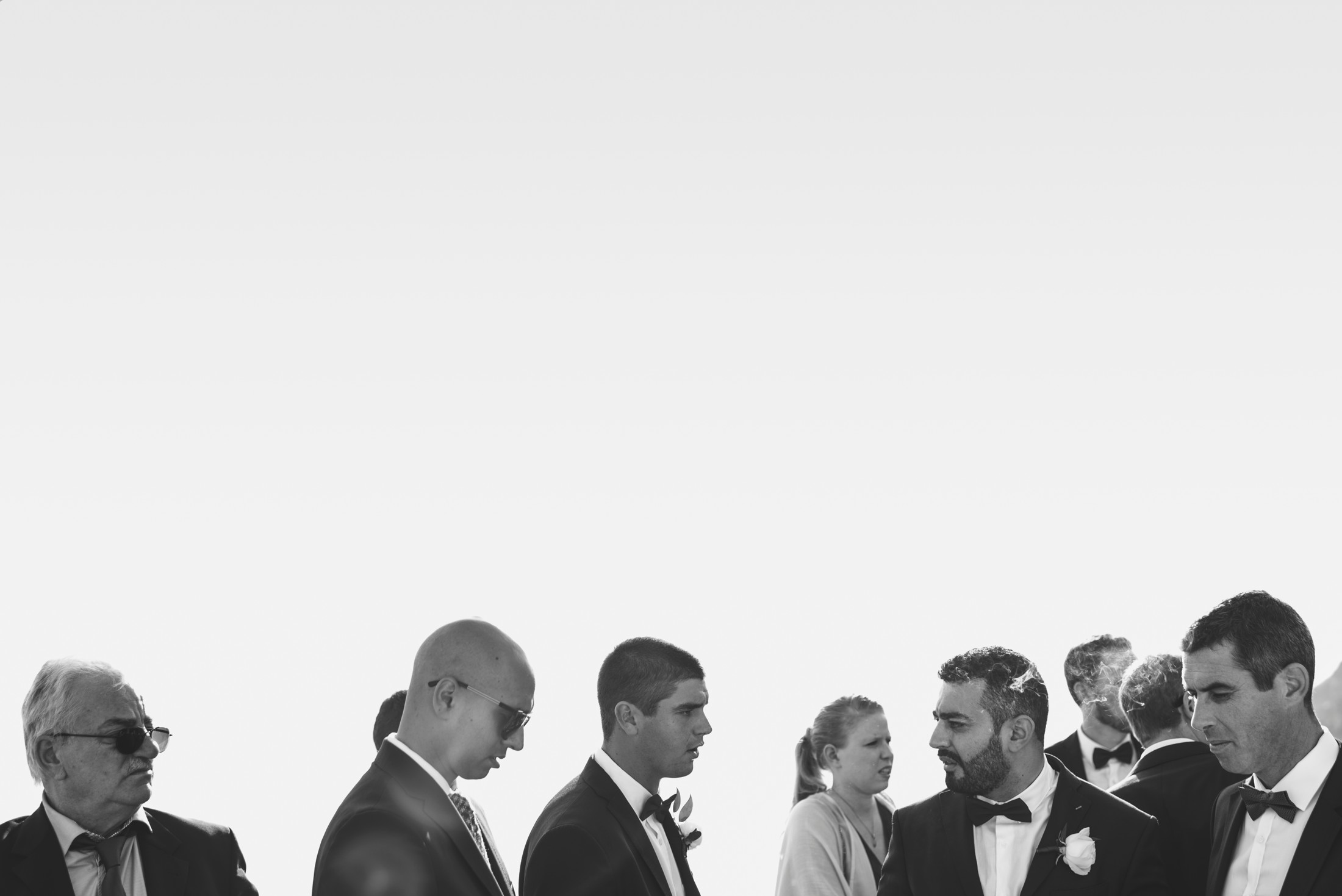 positano wedding guests in black and white