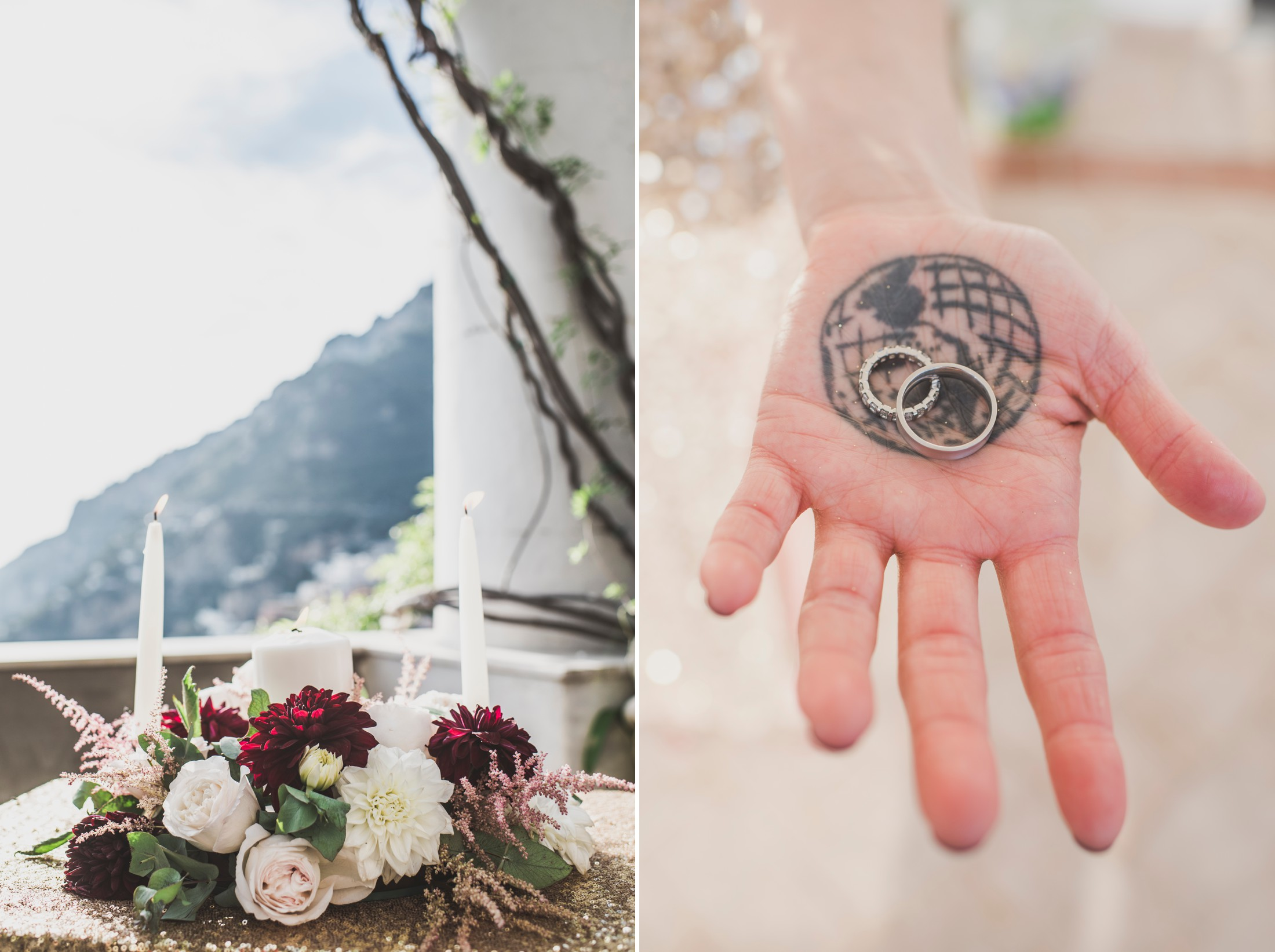 positano wedding collage rings in a woman hand with tattoo of the world wedding bouquet