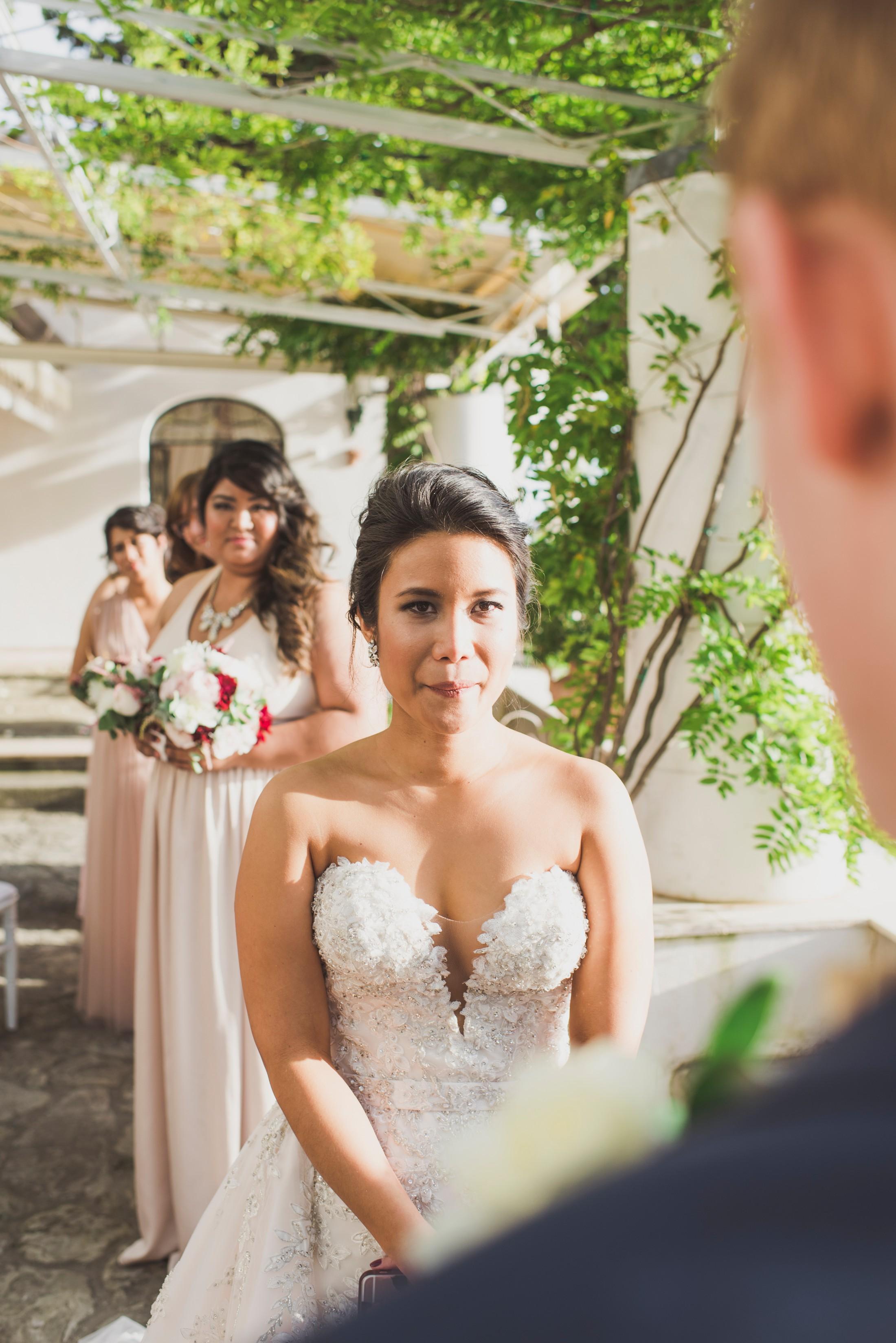 positano wedding bride during the wedding ceremony