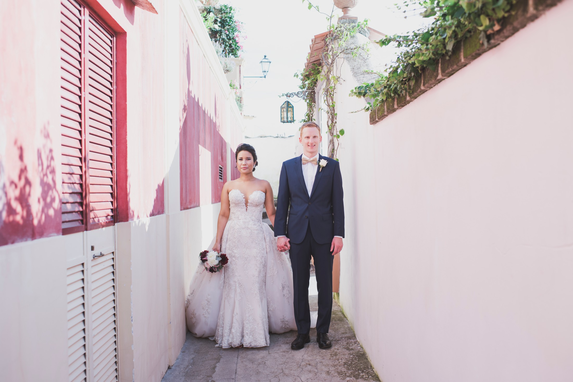 positano wedding bride and groom's portrait