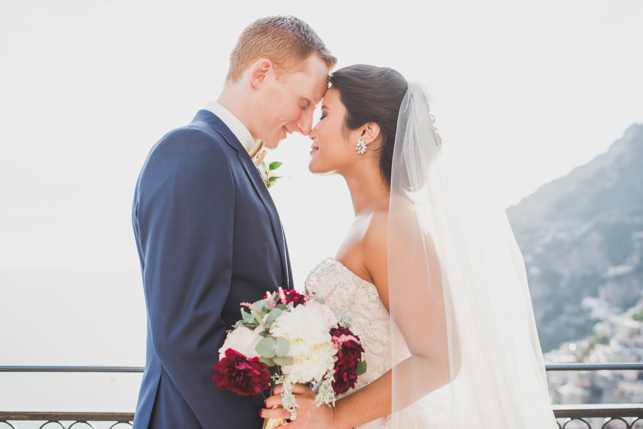 positano wedding bride and groom's portrait