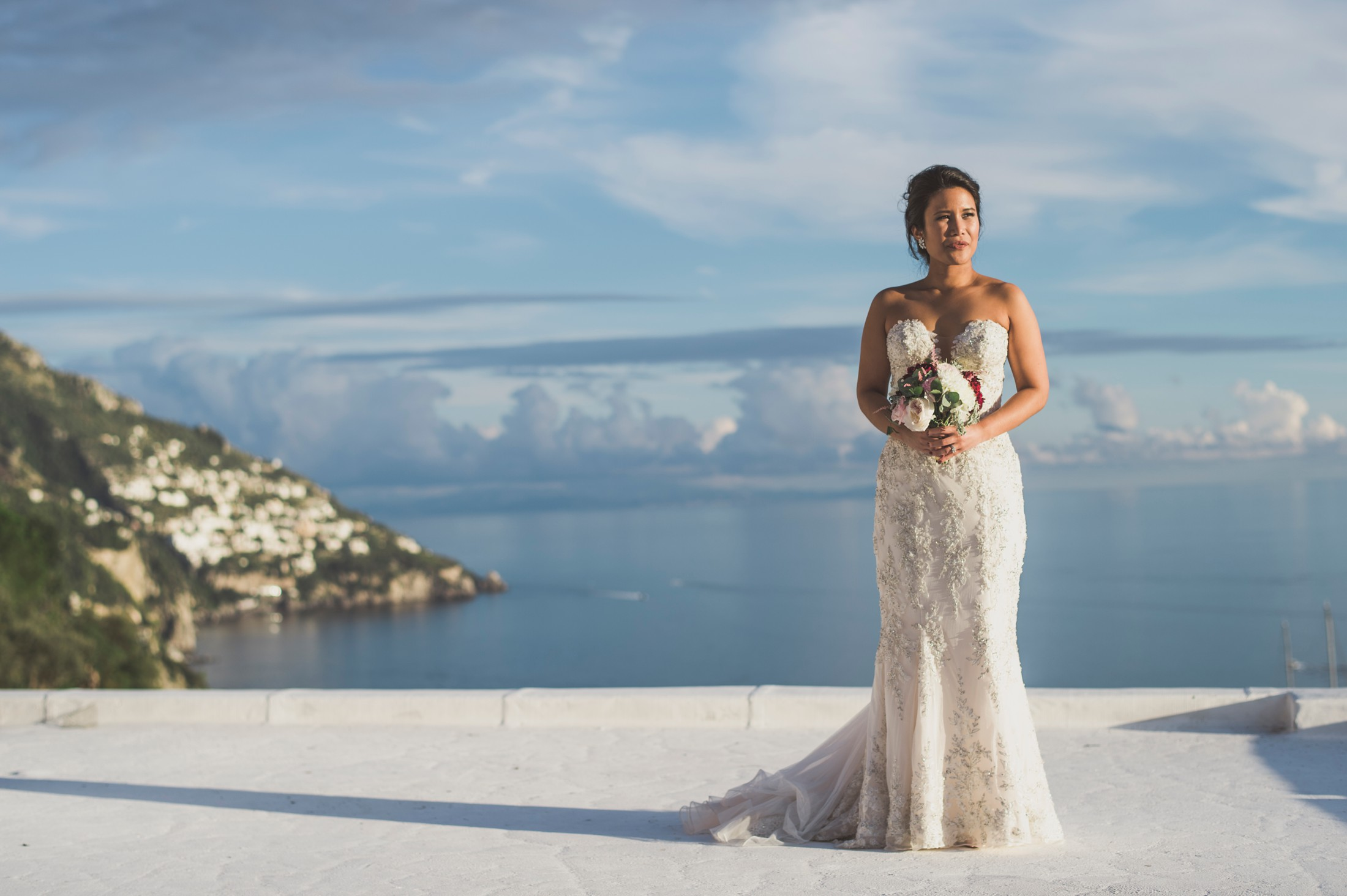 positano wedding bride's portrait with the bouquet