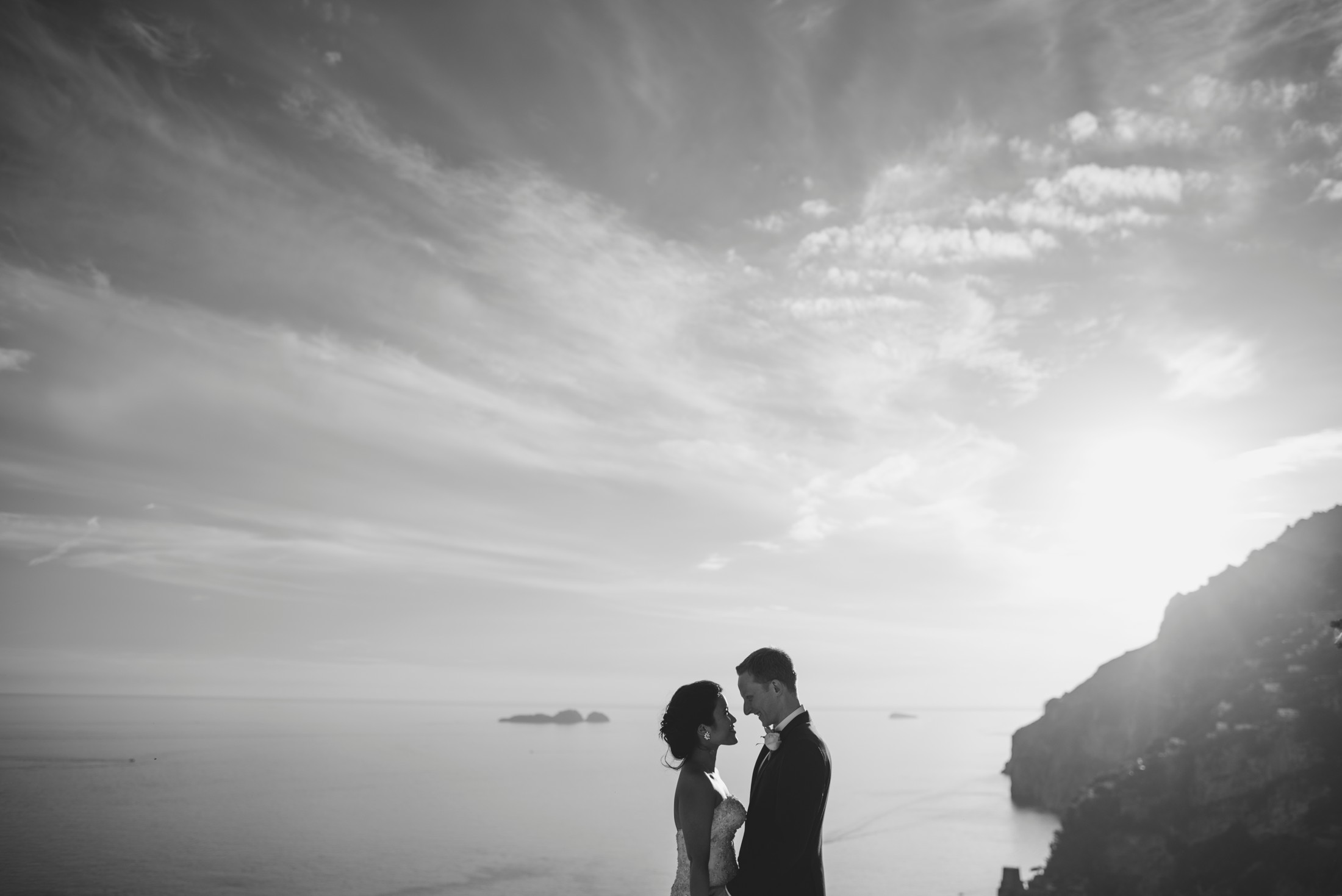 positano wedding bride and groom's portrait in black and white