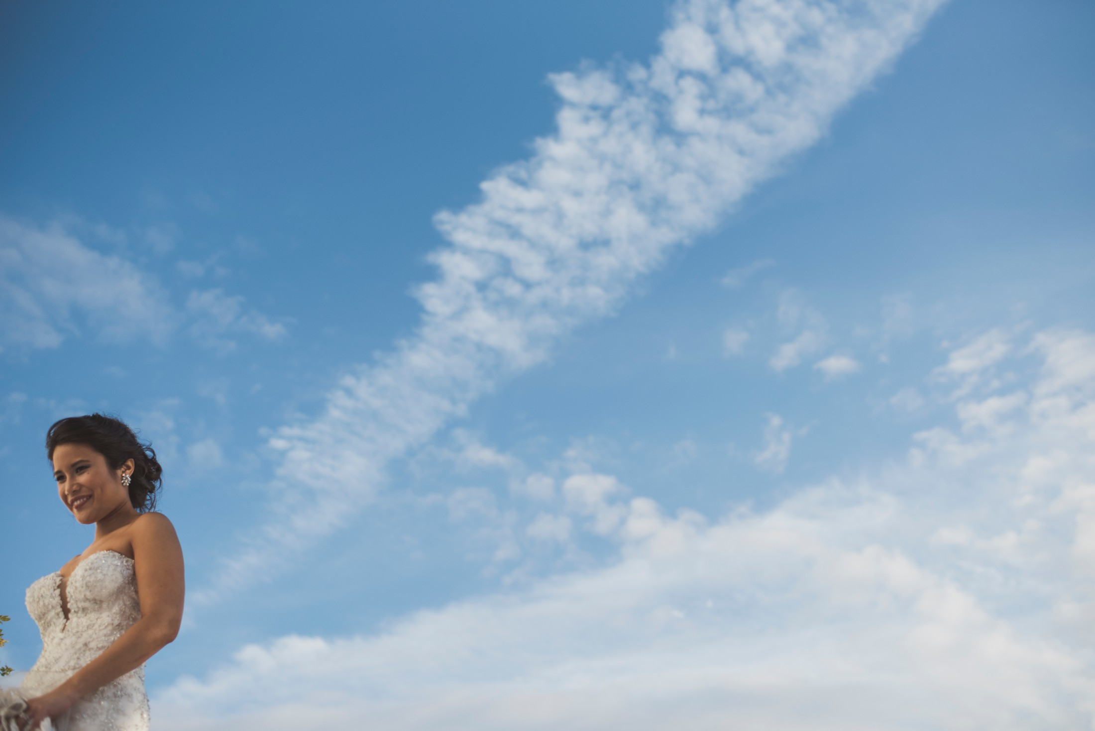 positano wedding bride with clouds