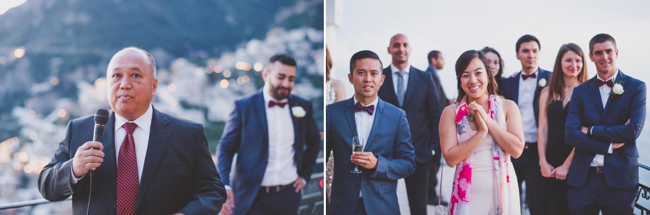 positano wedding guests during a speech
