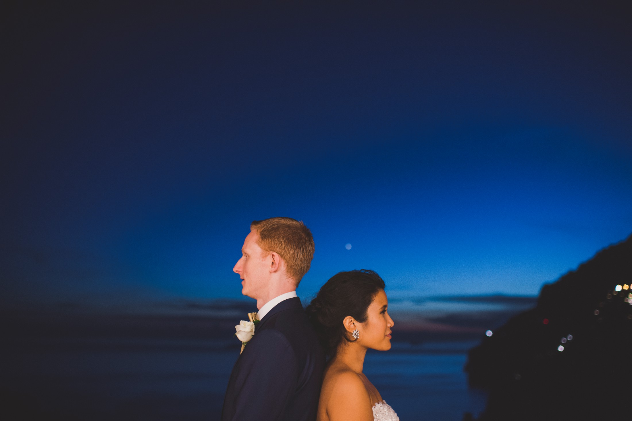 positano wedding bride and groom's portrait at nighttime