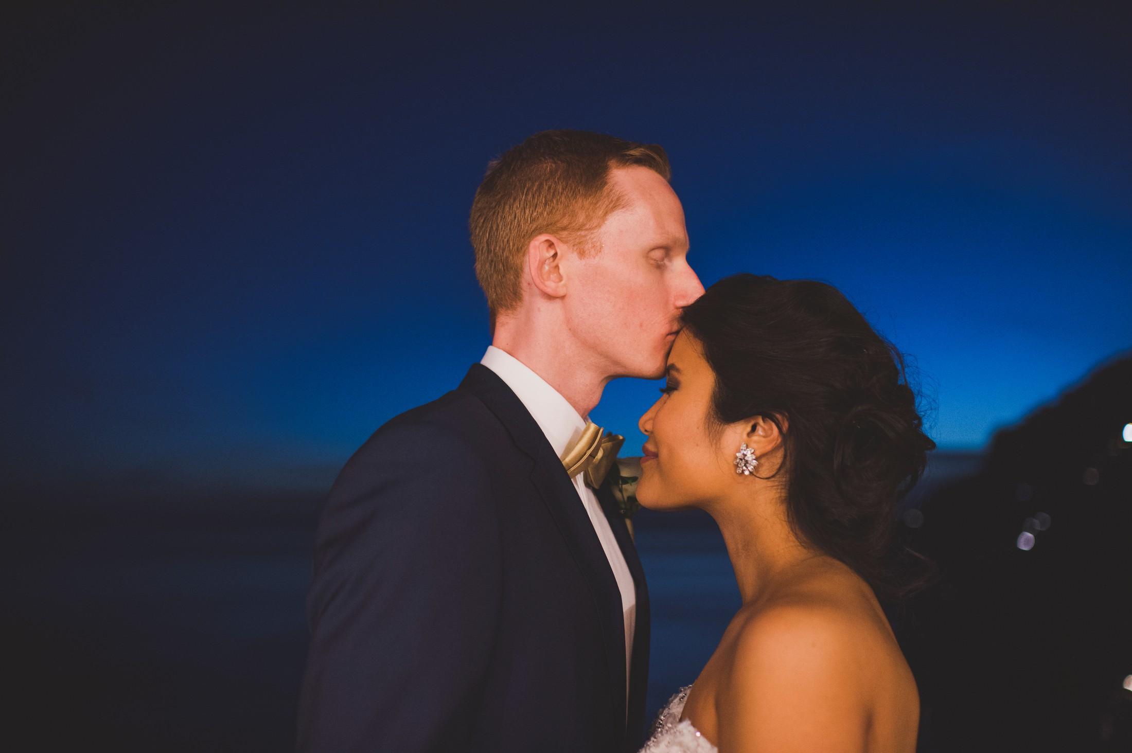 positano wedding the groom kissing the bride