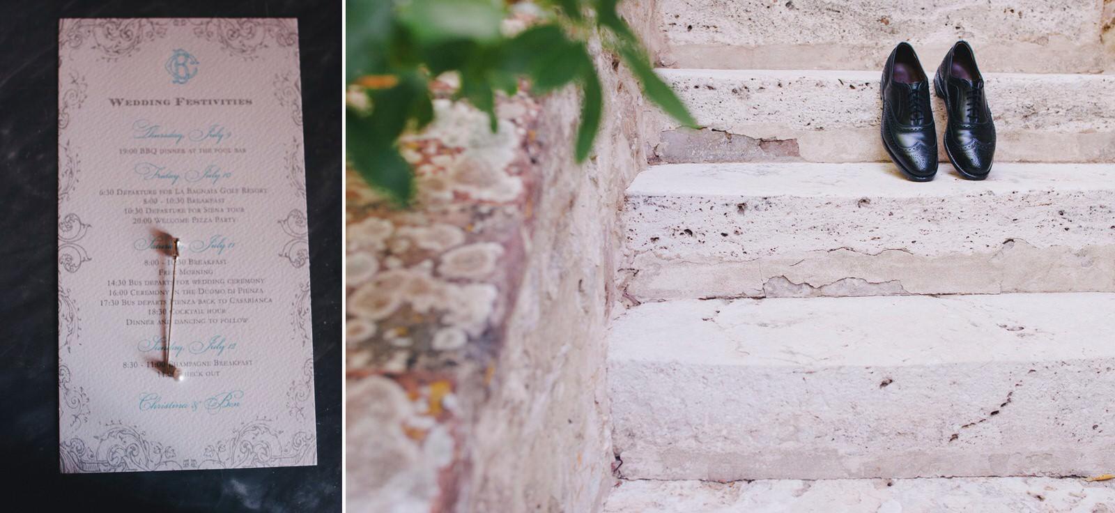 tuscany wedding groom's shoes and invitation
