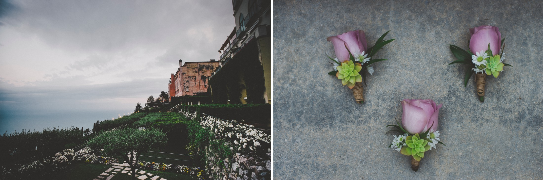 ravello wedding collage landscape and boutonniere