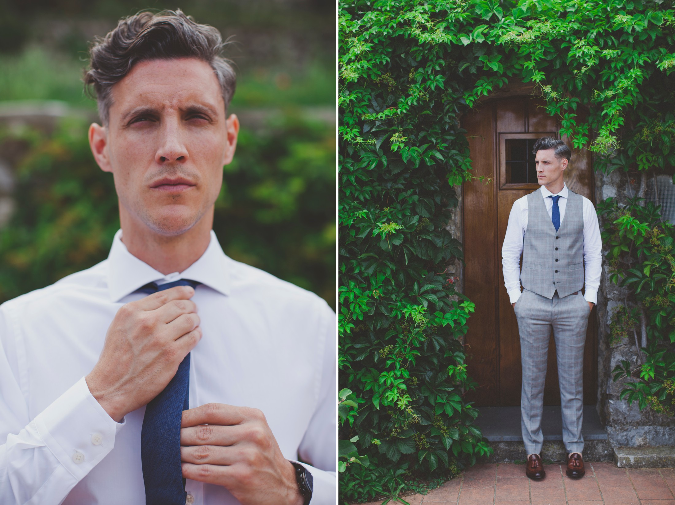 ravello wedding collage groom's portrait with a wooden door as backdrop
