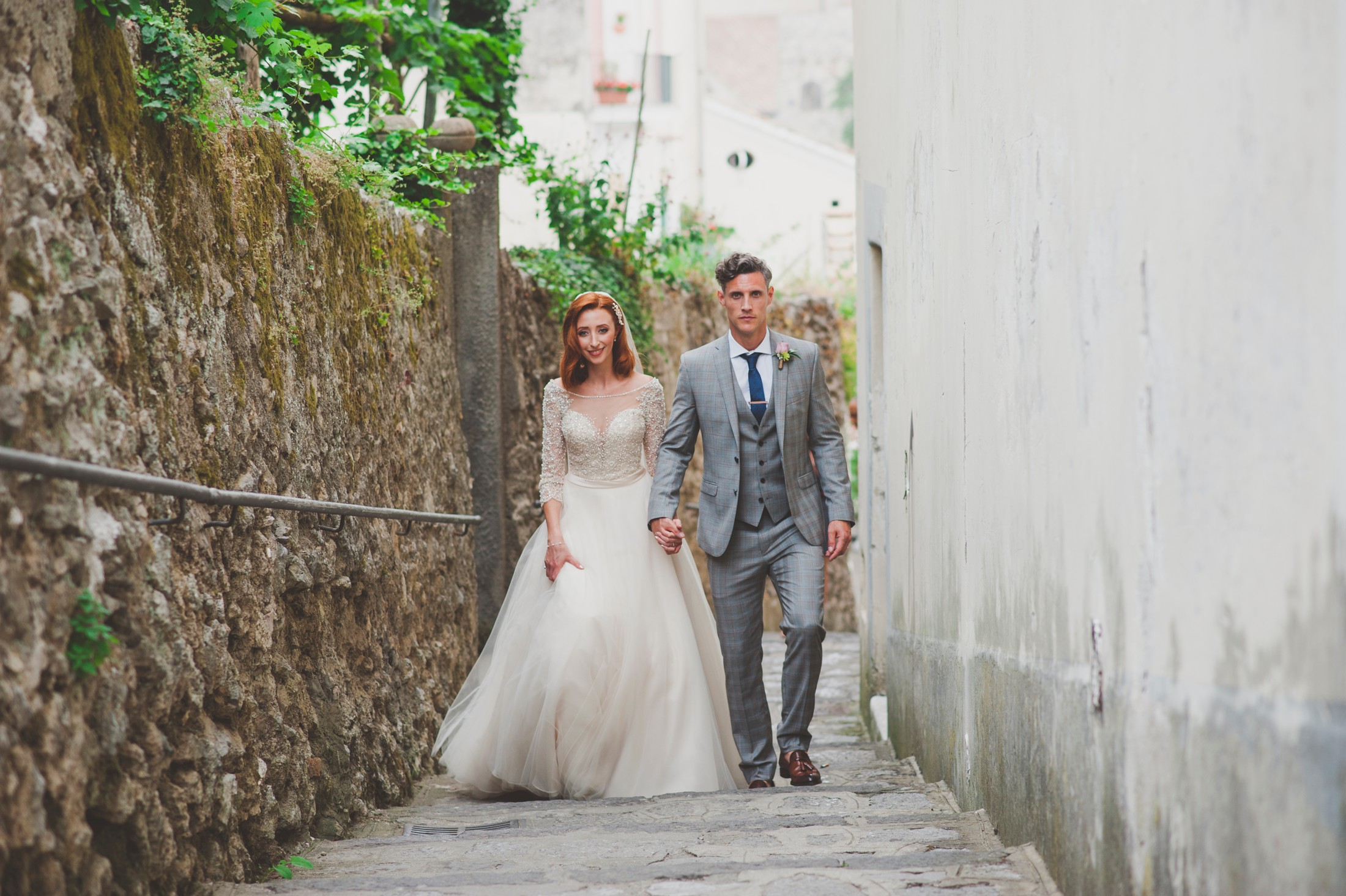 ravello wedding bride and groom walking together