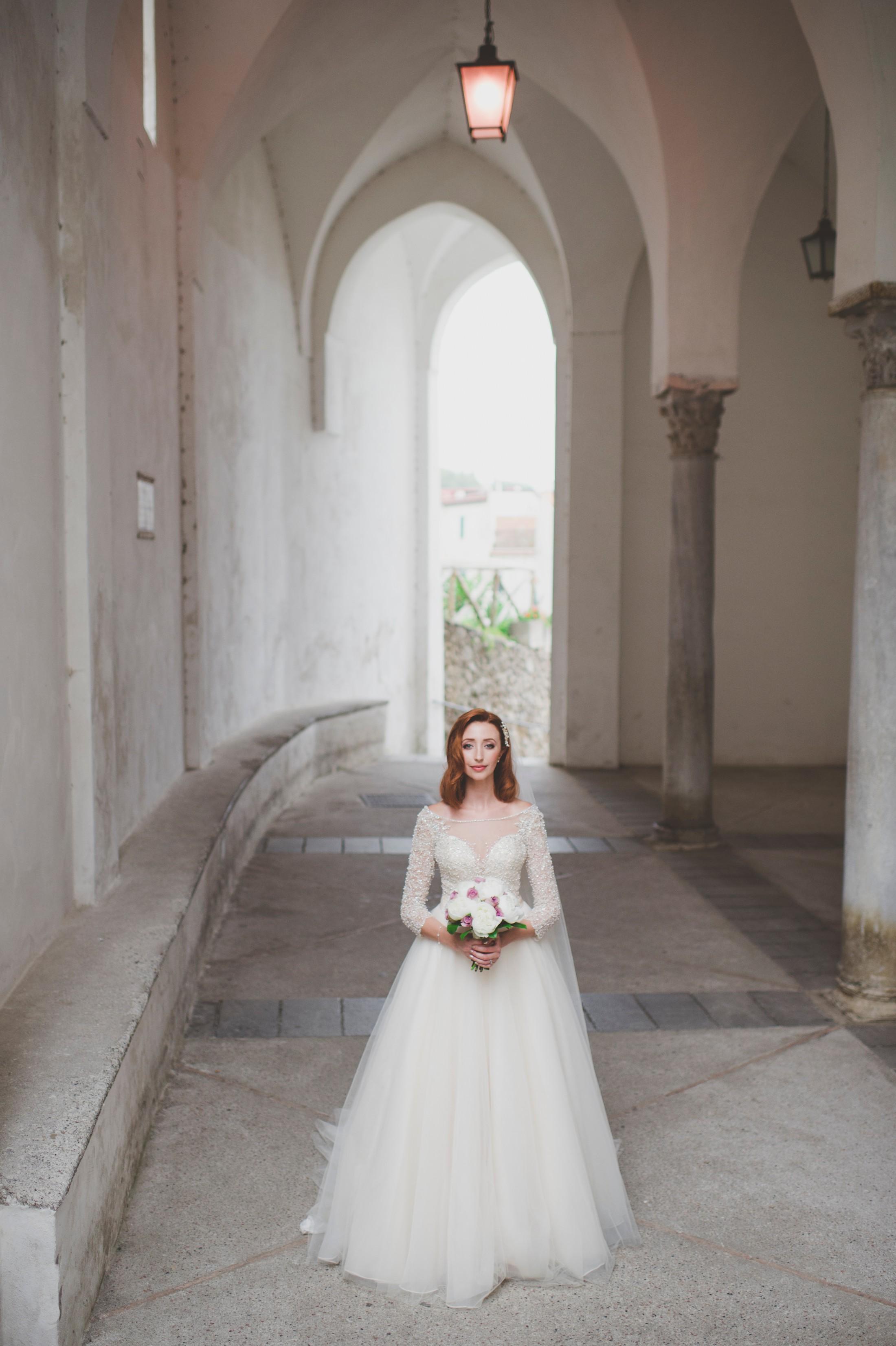 ravello wedding bride's portrait with her bouquet