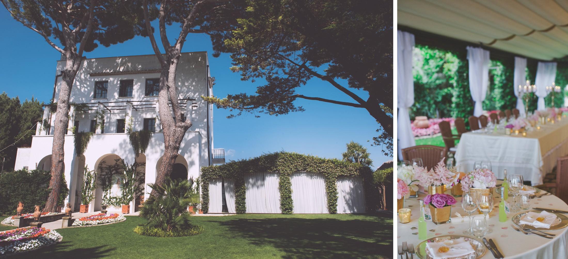 ravello wedding collage villa eva in ravello and table decors