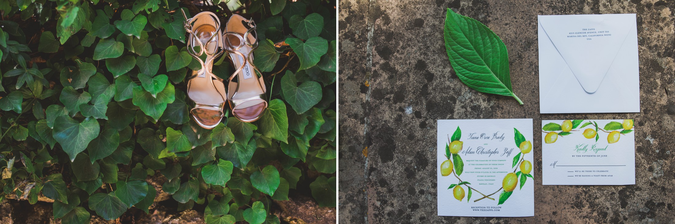 wedding in ravello collage bride's shoes and invitation card