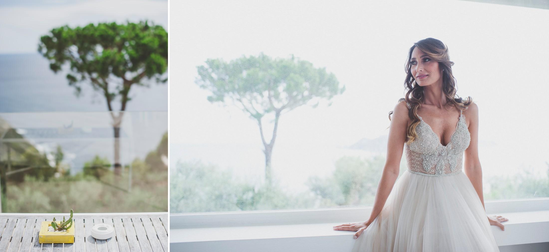 sorrento wedding collage bride's portrait