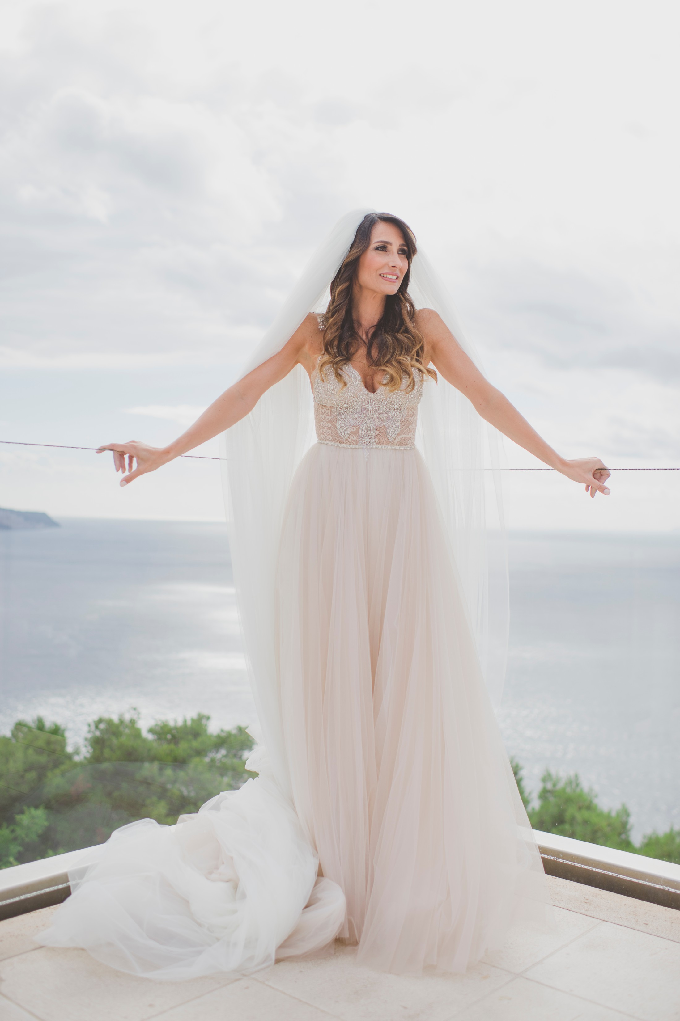 sorrento wedding bride's portrait on the terrace with the sea as background