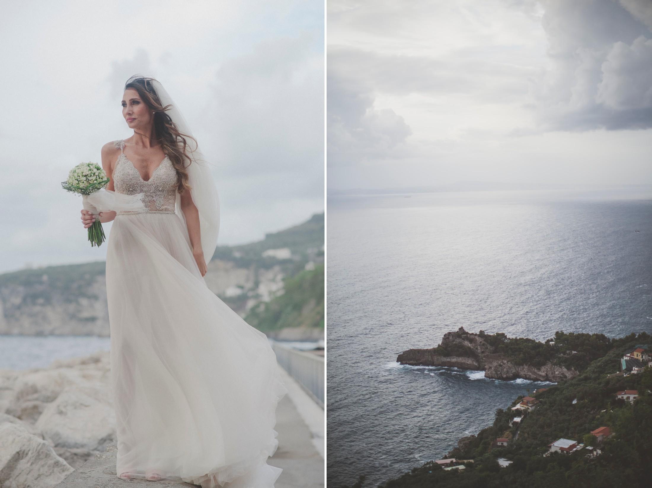 sorrento wedding collage landscape and bride's portrait