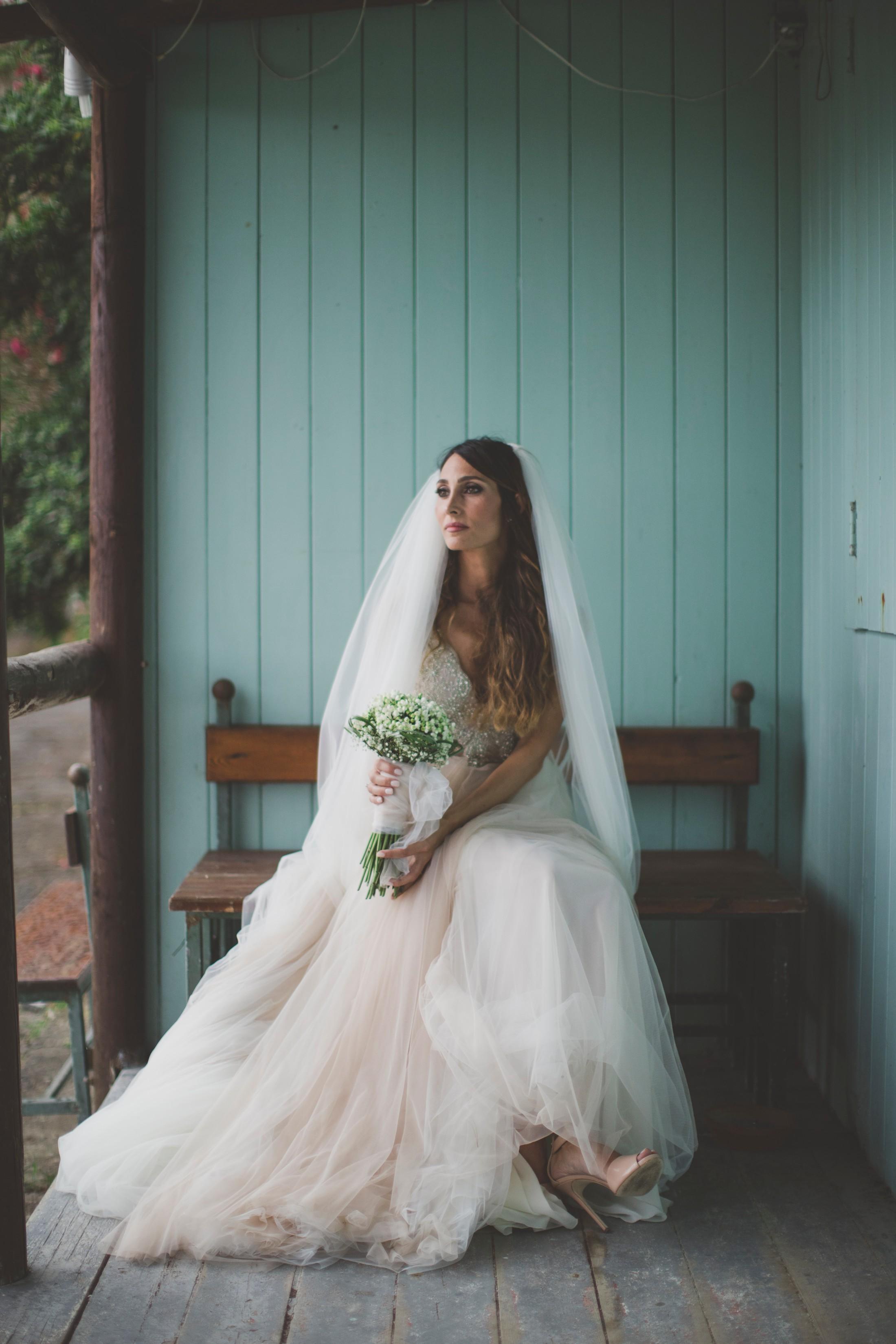 sorrento wedding bride's portrait by the beach