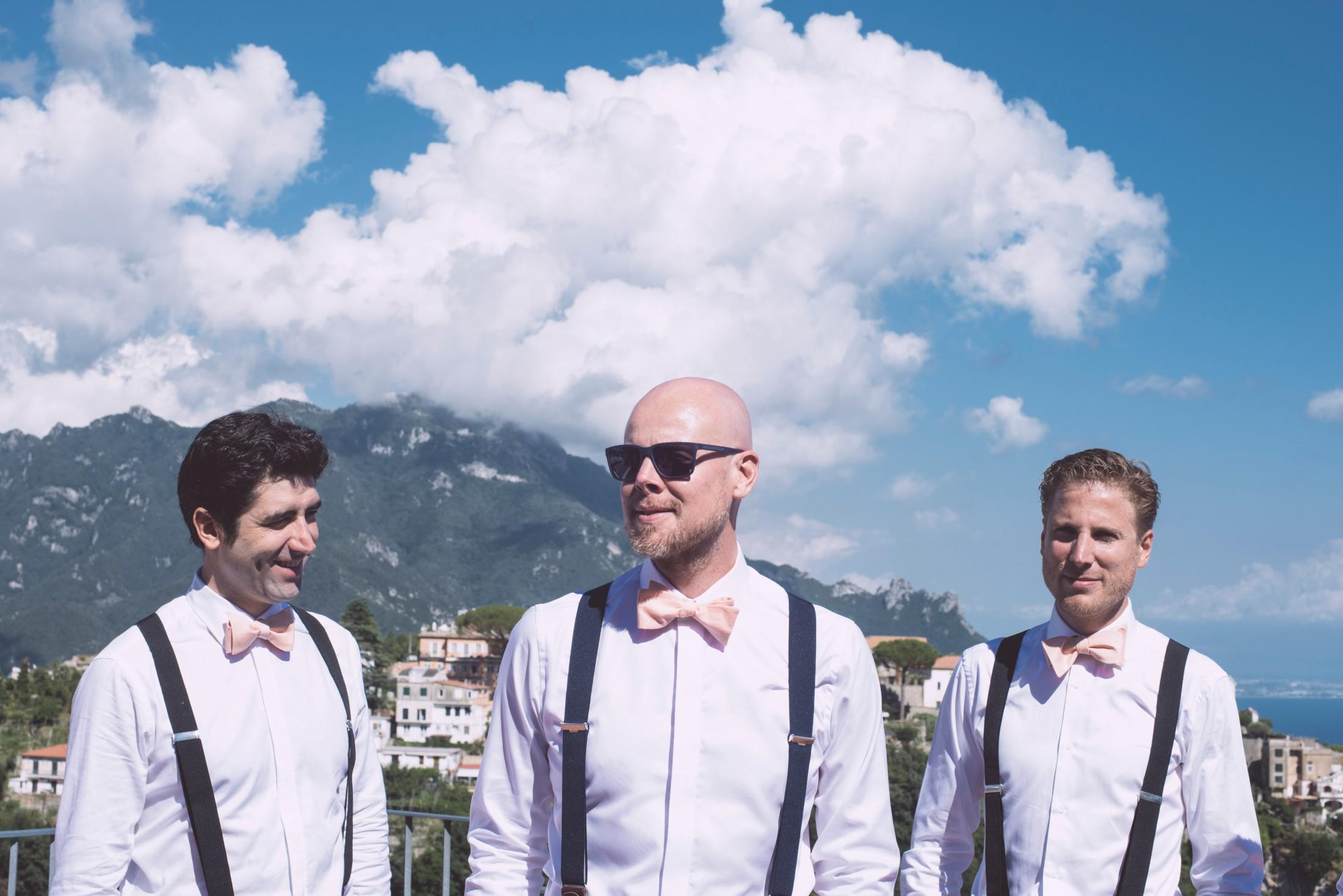 wedding in ravello groom's portrait with his best men