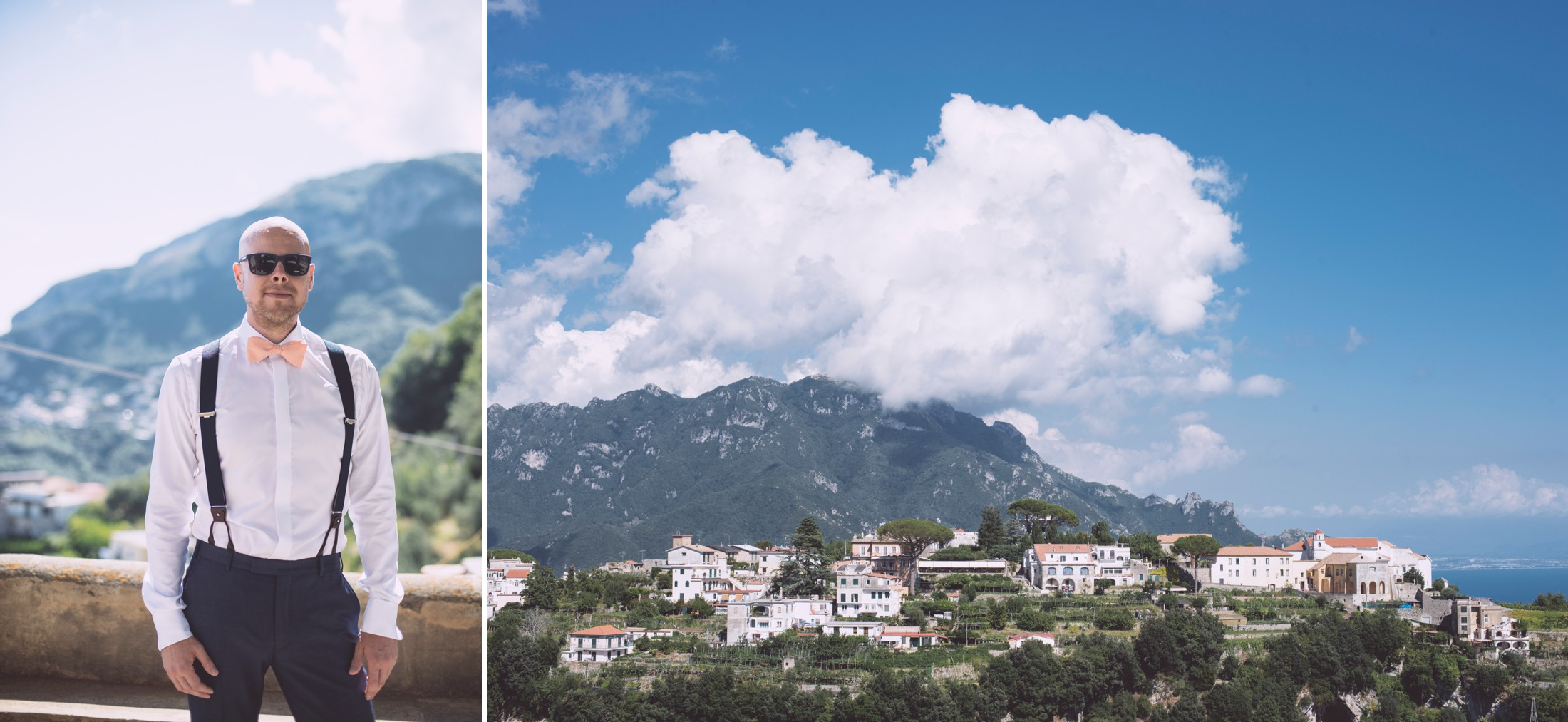 wedding in ravello collage groom's portrait and landscape