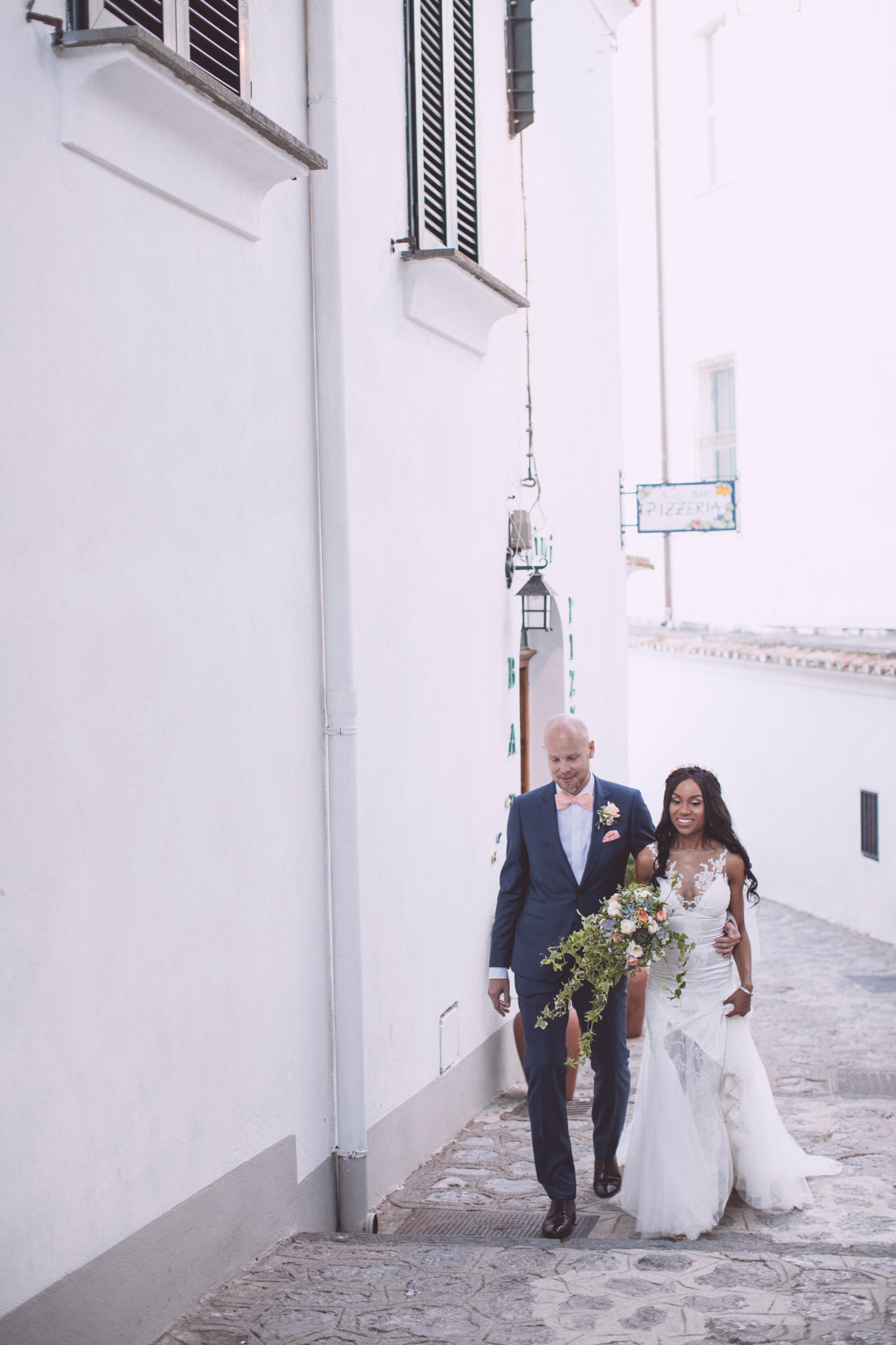 wedding in ravello bride and groom walking together