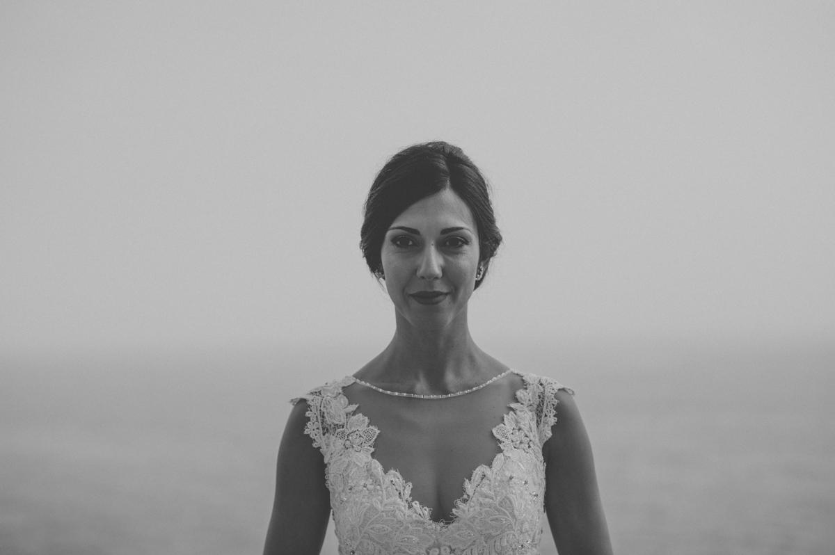 wedding in amalfi bride's portrait in black and white