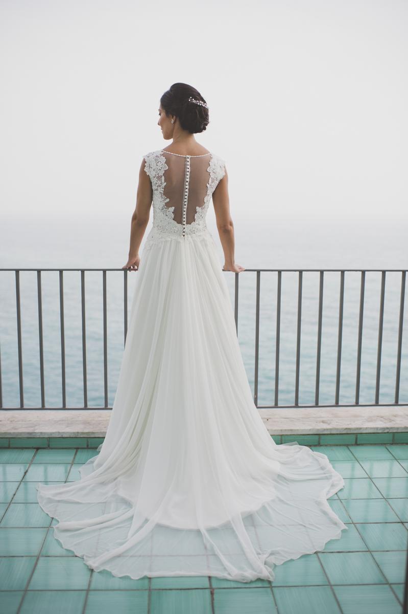 wedding in amalfi bride's portrait on a terrace