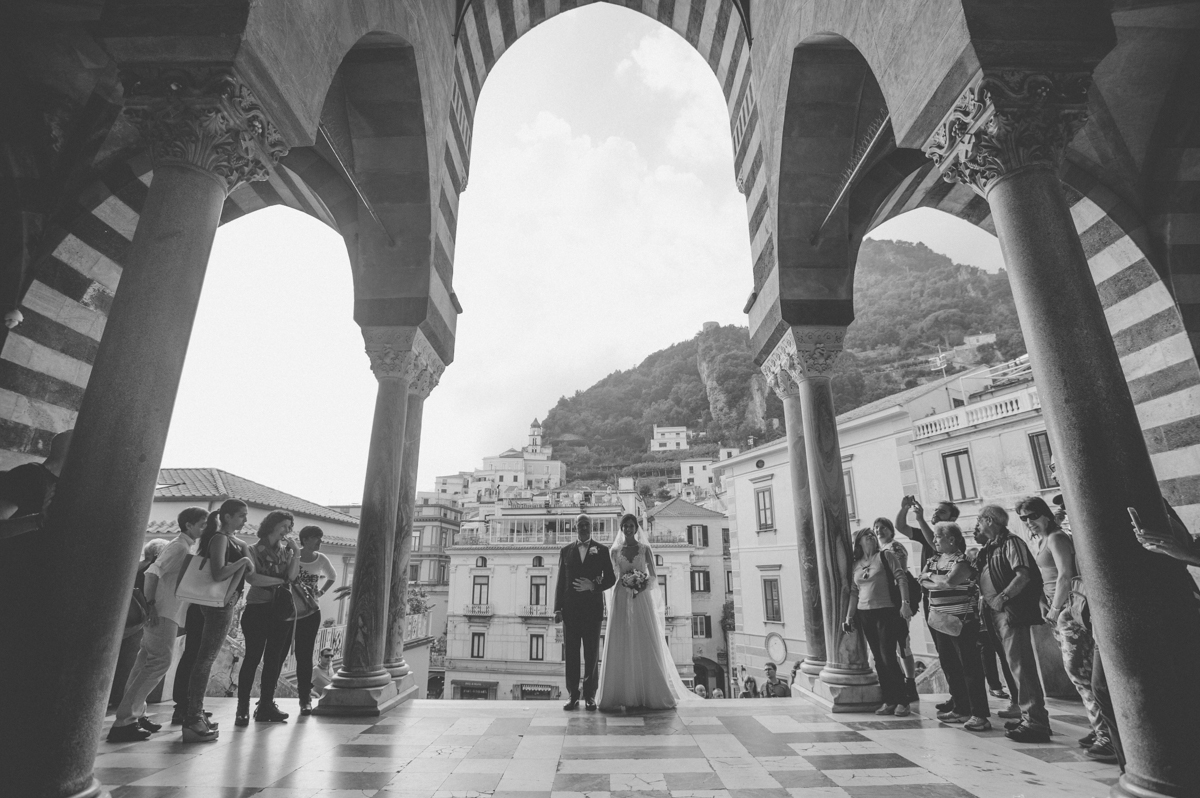 wedding in amalfi the bride with her father before entering the church