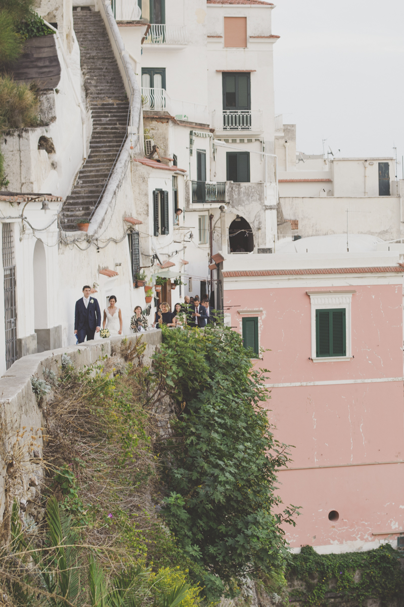 wedding in amalfi the bride and the groom walking together