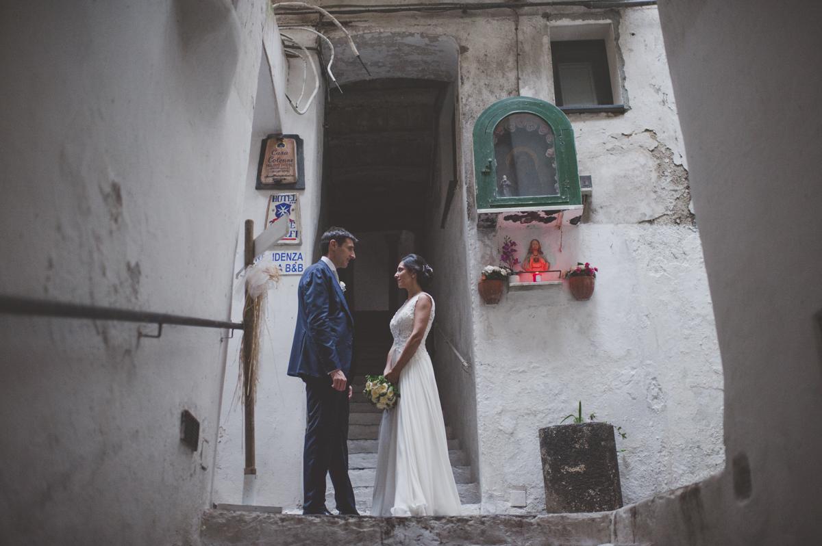 wedding in amalfi bride and groom's portrait