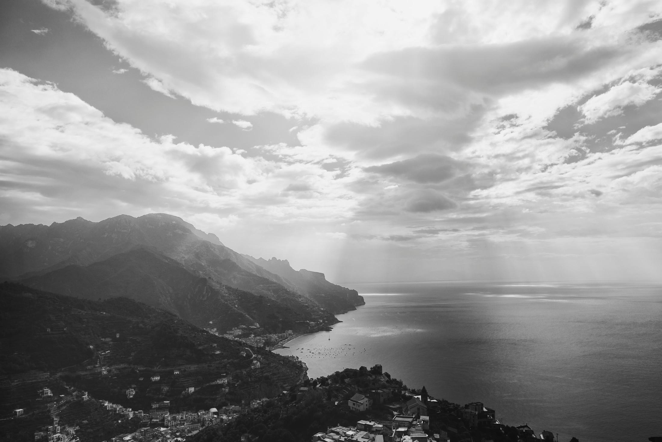 wedding on the amalfi coast landscape in black and white