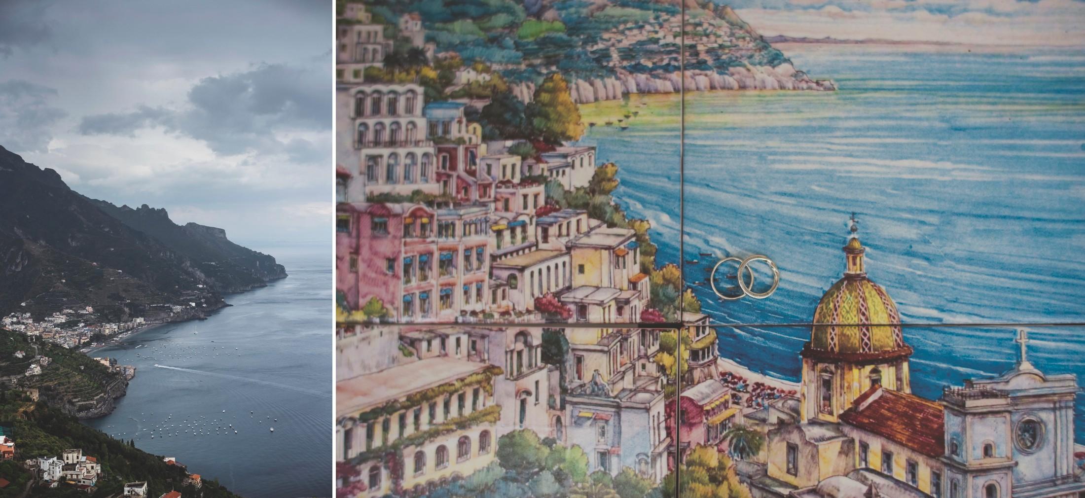 wedding on the amalfi coast collage landscape and wedding rings