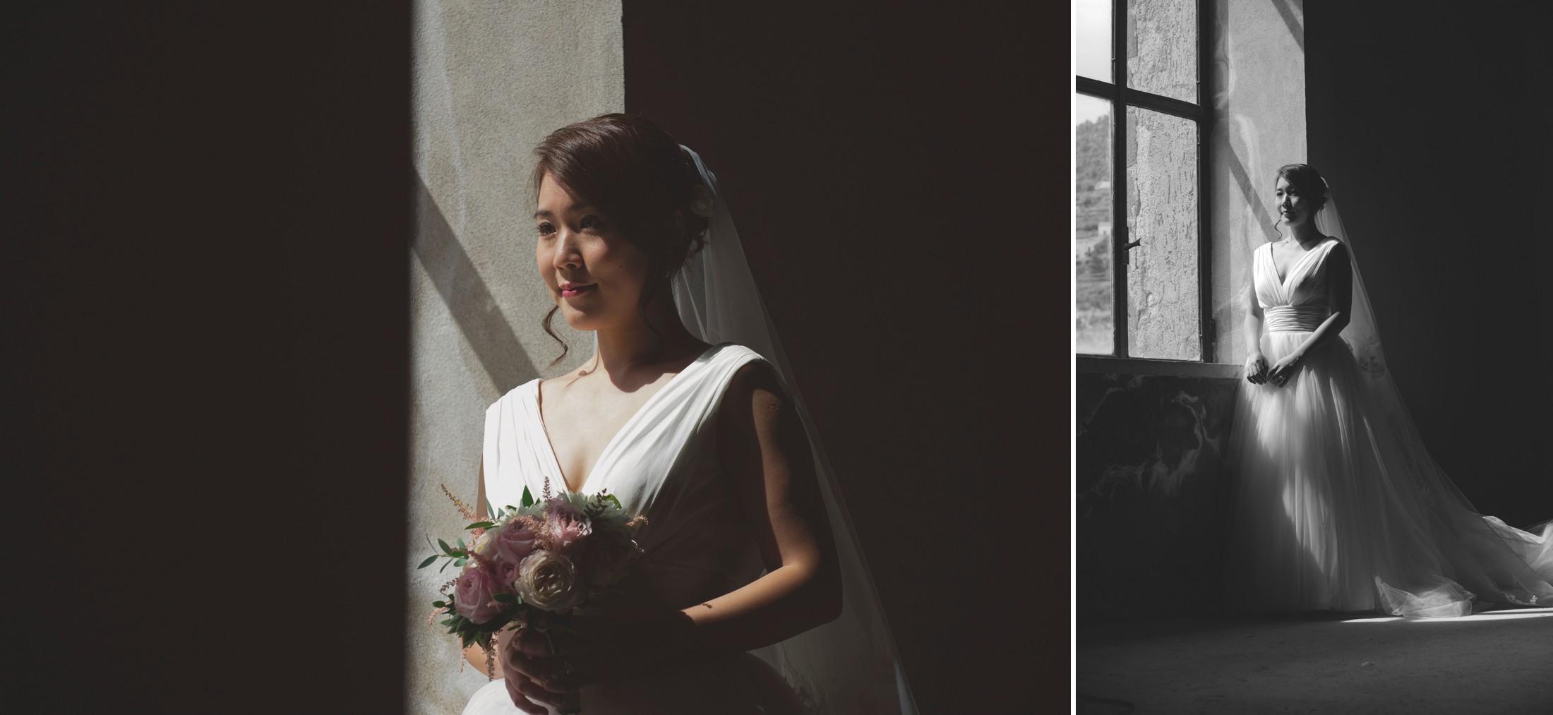 wedding on the amalfi coast collage portraits of the bride