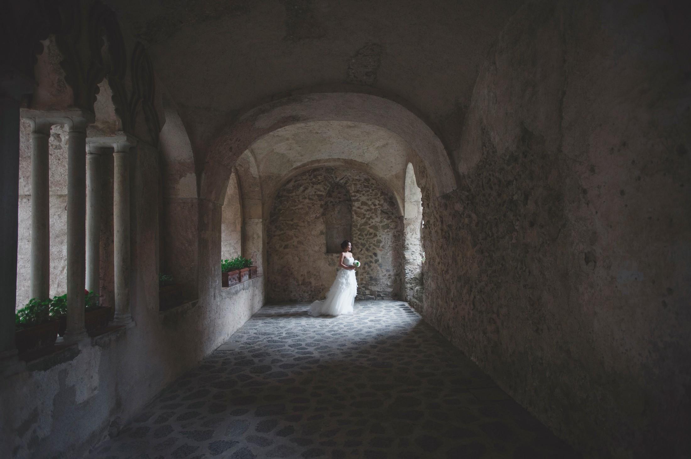 wedding on the amalfi coat bride's portrait at villa ruffle in ravello