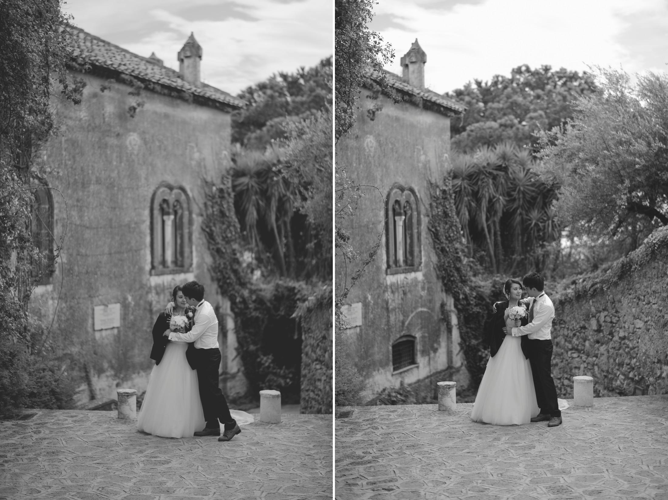 wedding on the amalfi coat bride and groom' s portraits at villa rufolo in ravello