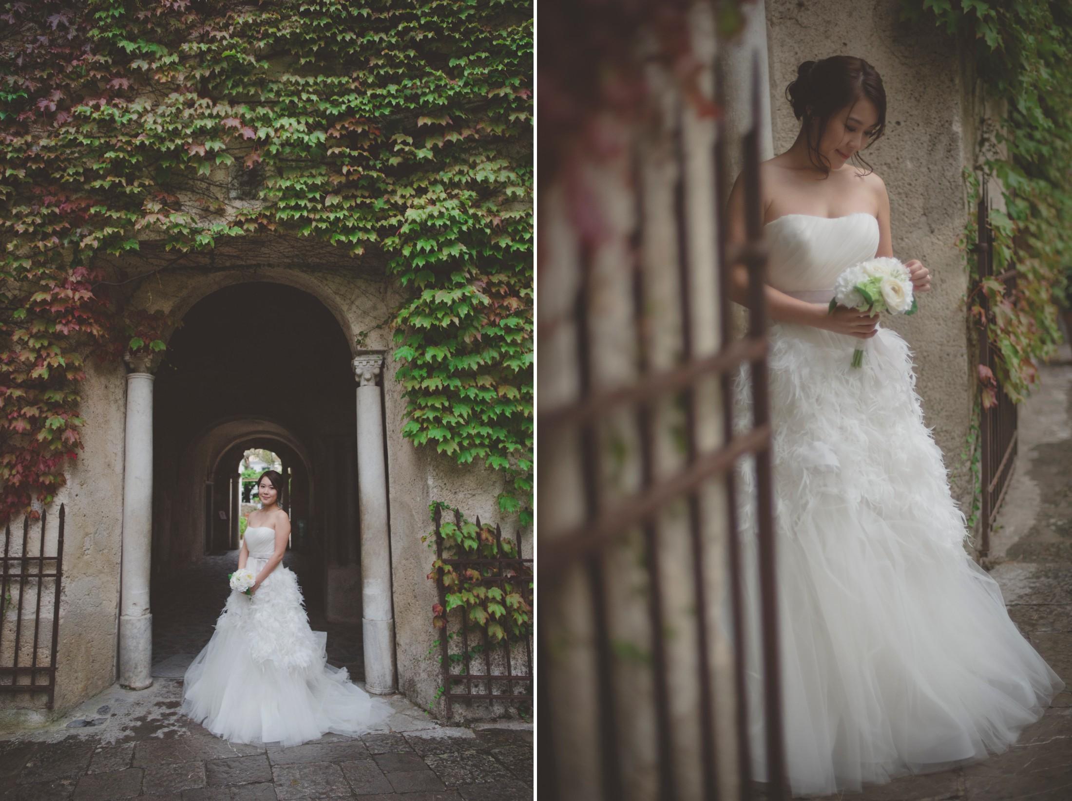 wedding on the amalfi coast bride's portraits at villa Rufolo in ravello