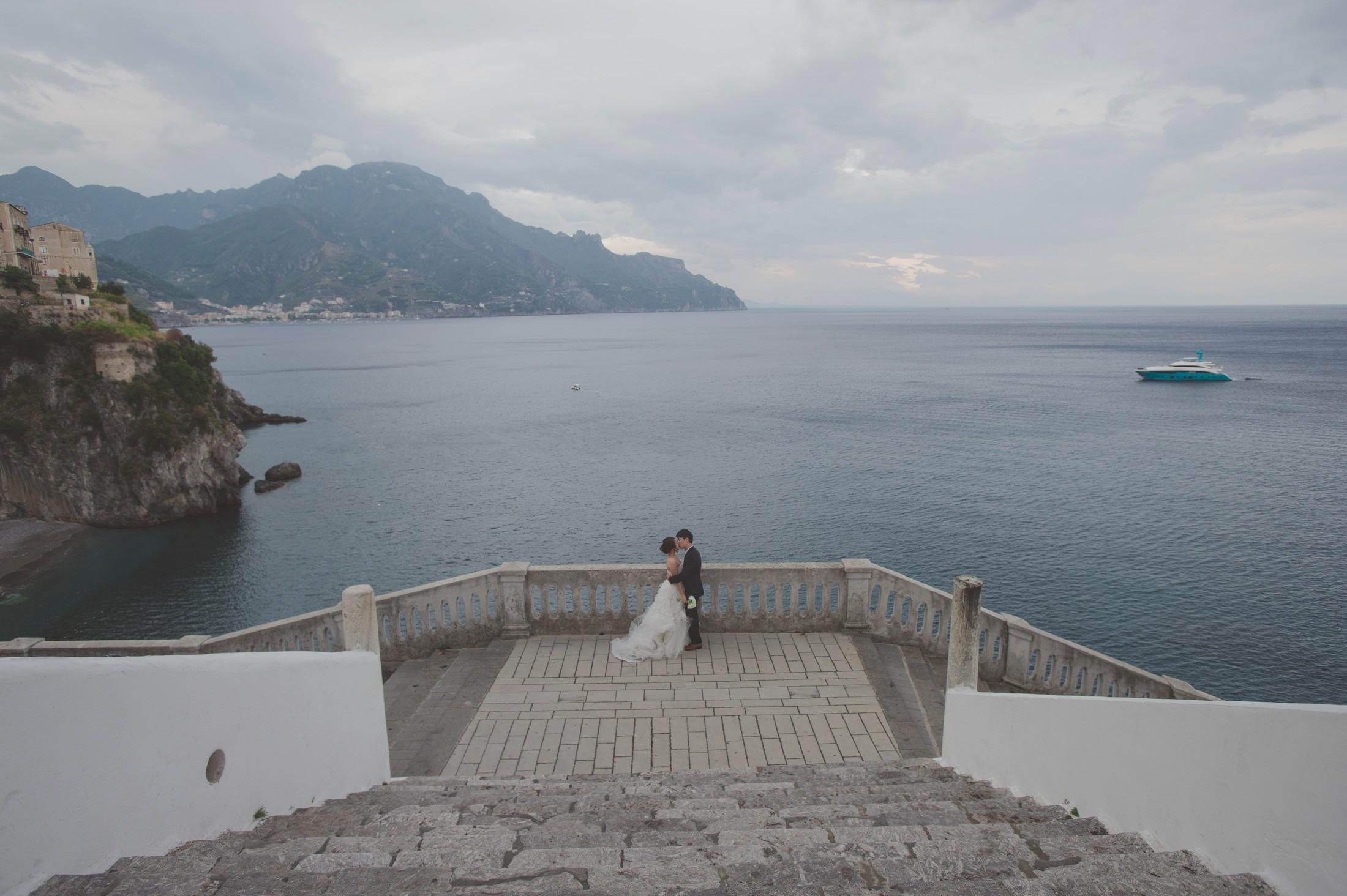 wedding on the amalfi coast bride and groom's portrait by the sea