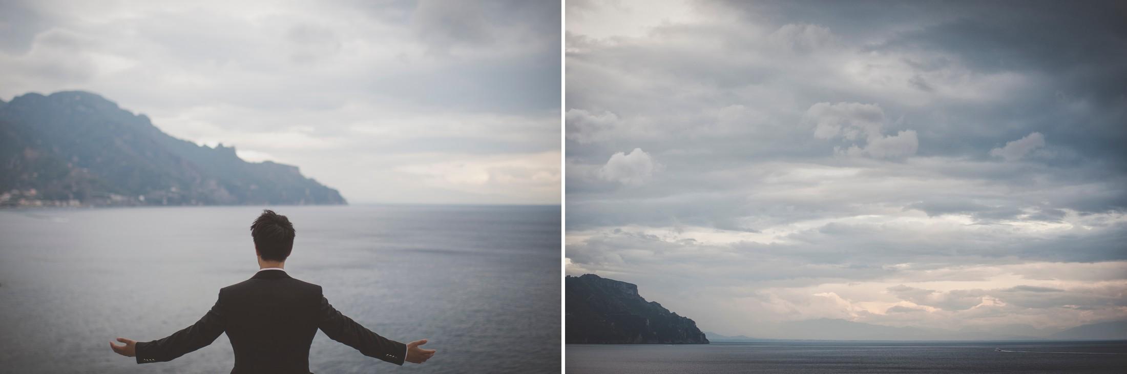 wedding on the amalfi coast the groom looking at the sea