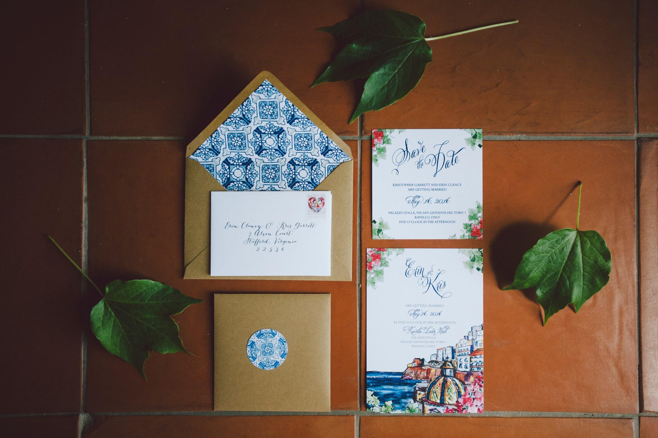 wedding in ravello invitation cards