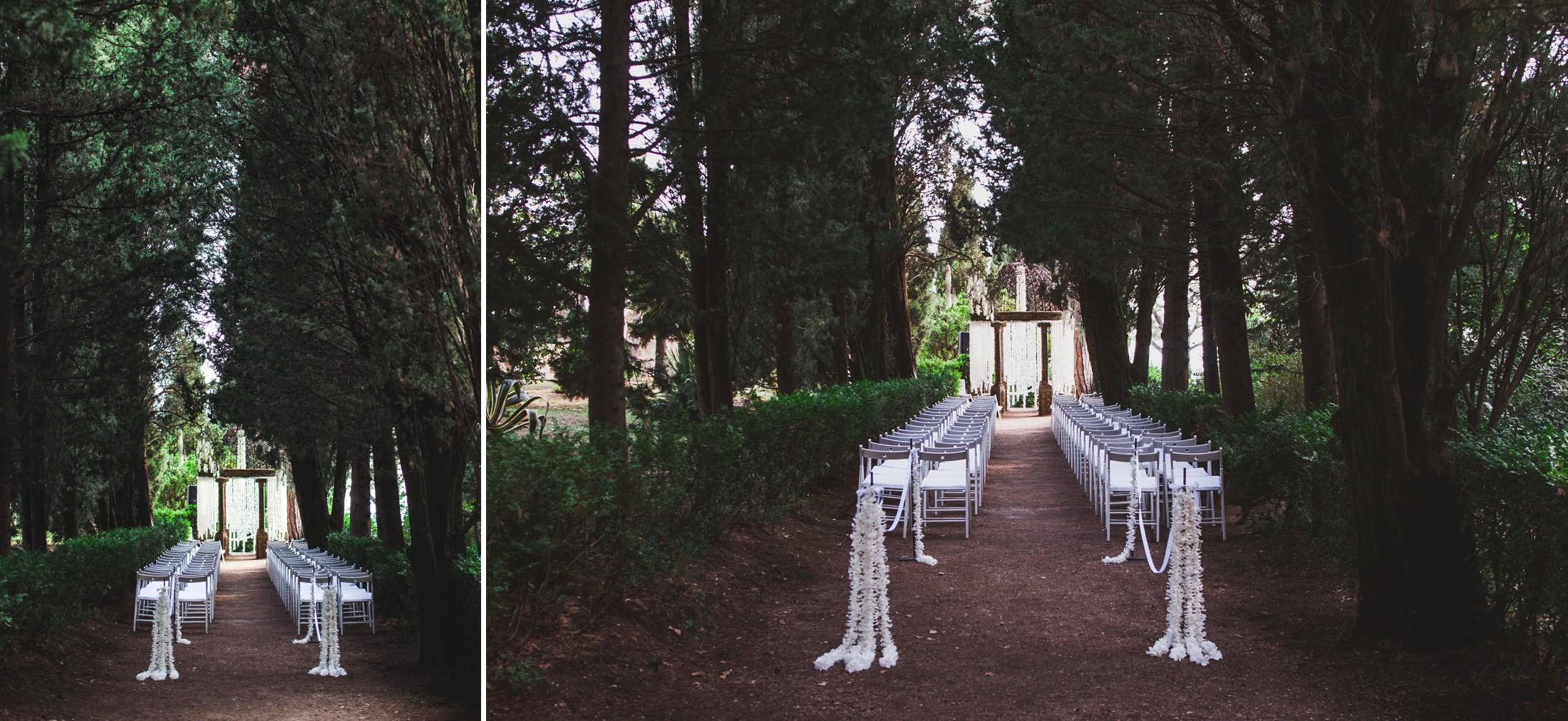 luxury wedding ceremony setting at villa cimbrone in ravello
